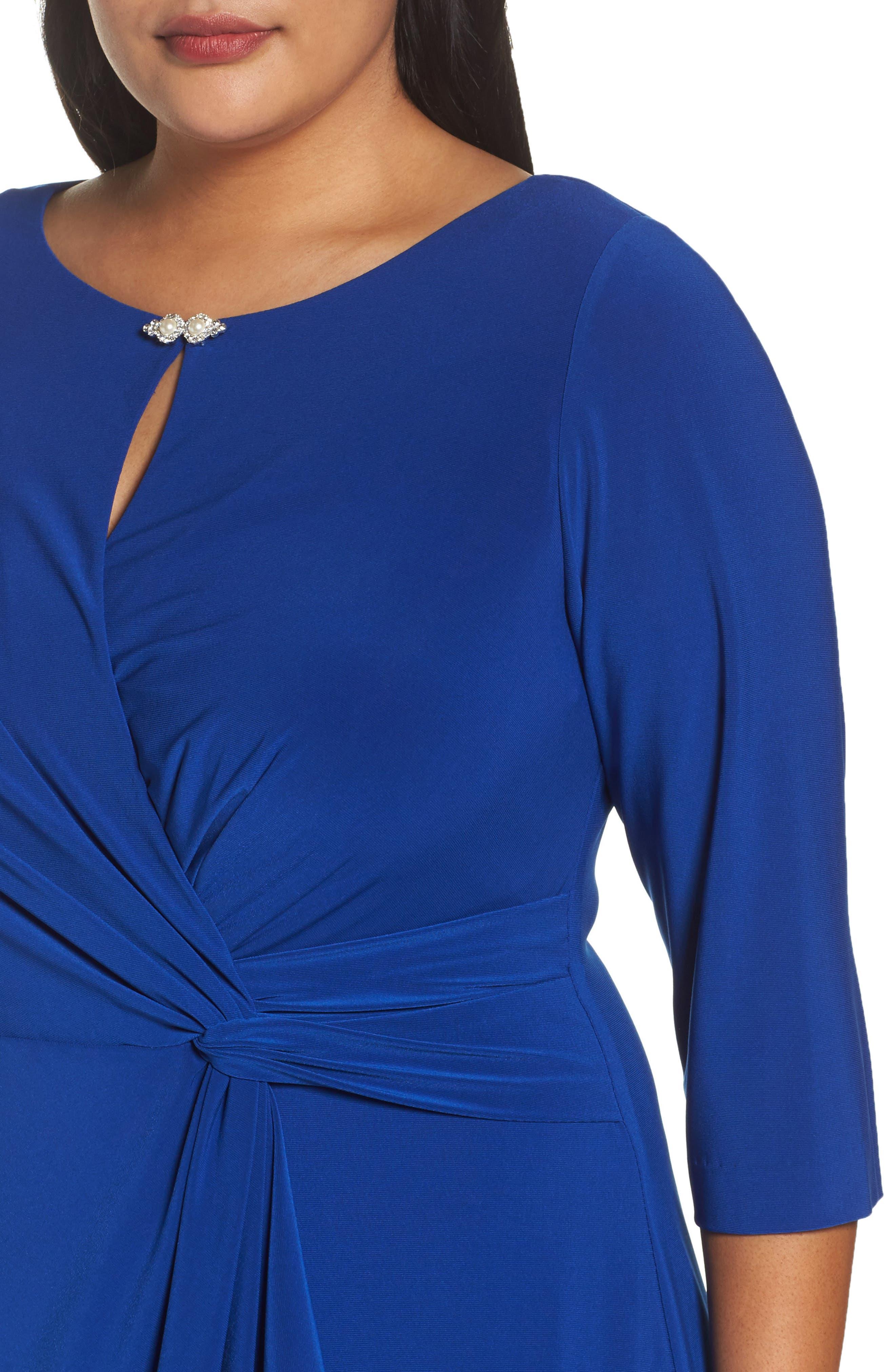 Embellished Knot Front Dress,                             Alternate thumbnail 4, color,                             461