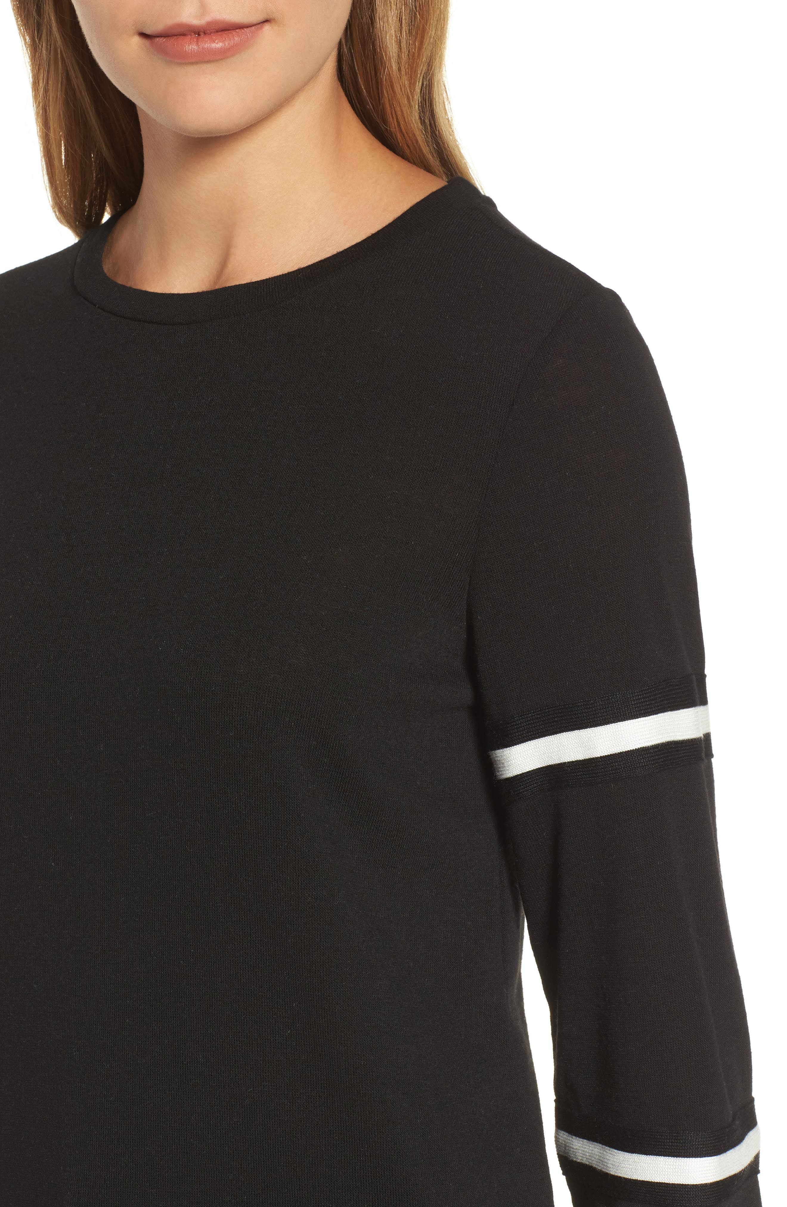 Double Stripe Sleeve Tee,                             Alternate thumbnail 4, color,                             001