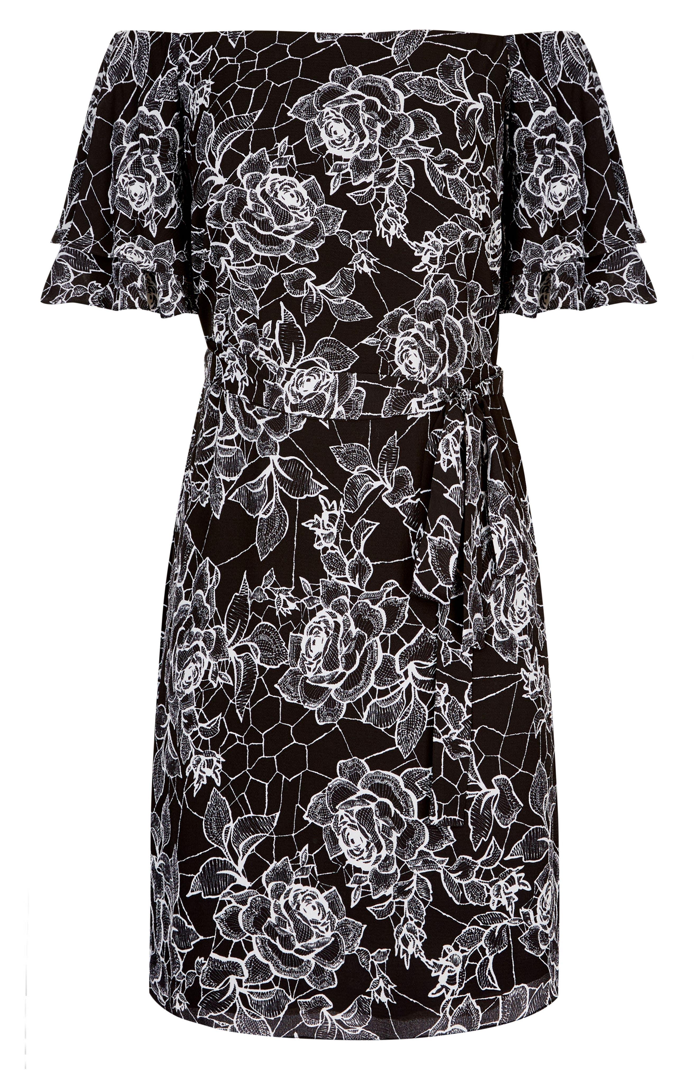 Rose Print Off the Shoulder Dress,                             Alternate thumbnail 4, color,                             ROSE WEB