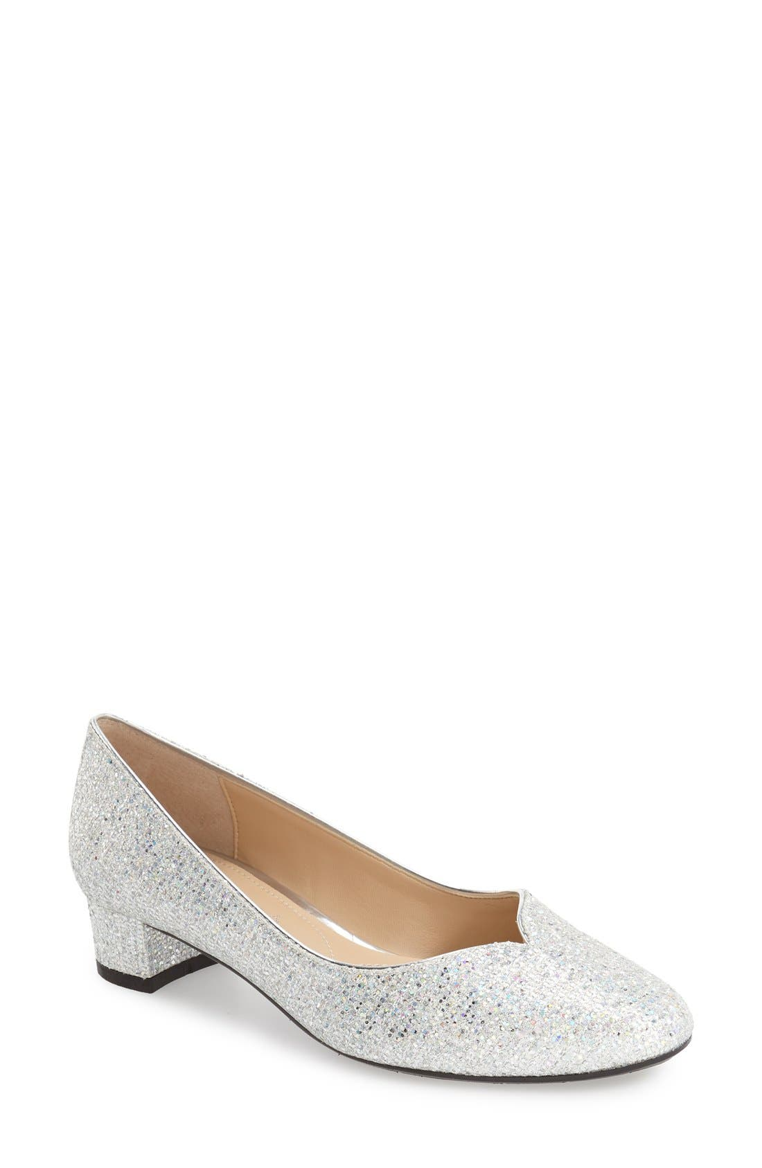 J. RENEÉ 'Bambalina' Block Heel Glitter Pump, Main, color, SILVER GLITTER FABRIC