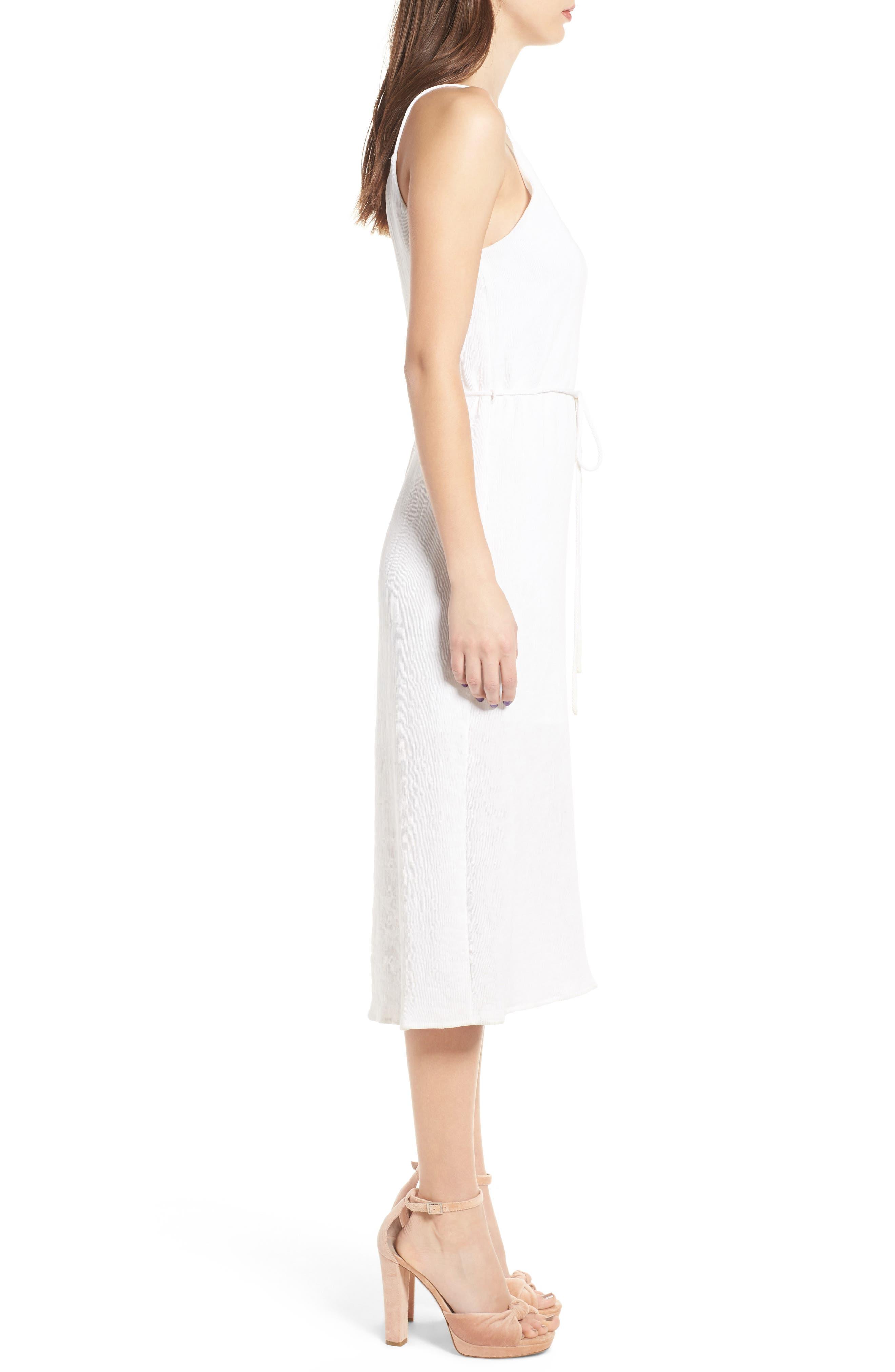 Tie Waist Midi Dress,                             Alternate thumbnail 3, color,