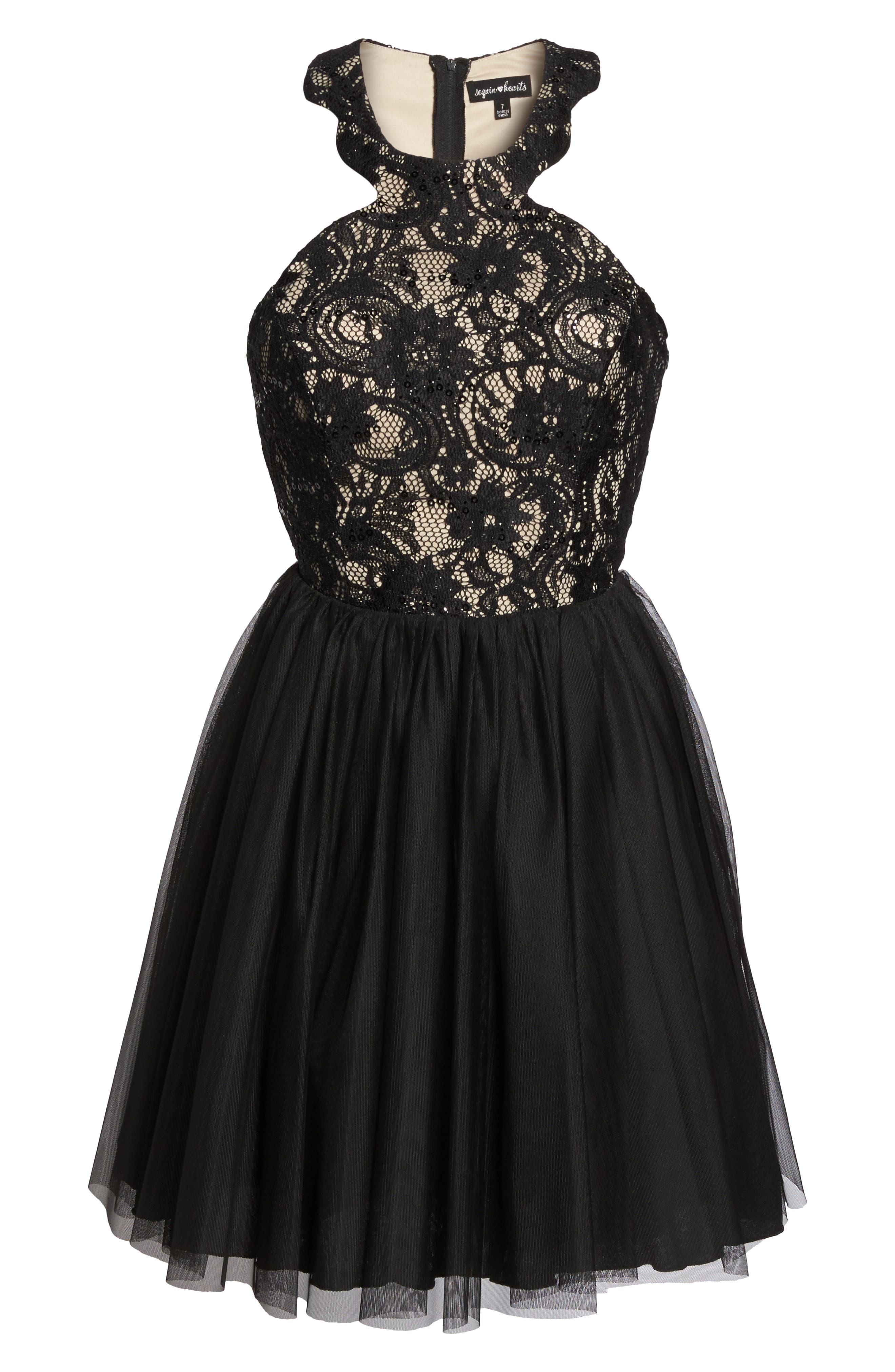 Lace Halter Neck Dress,                             Alternate thumbnail 6, color,                             006