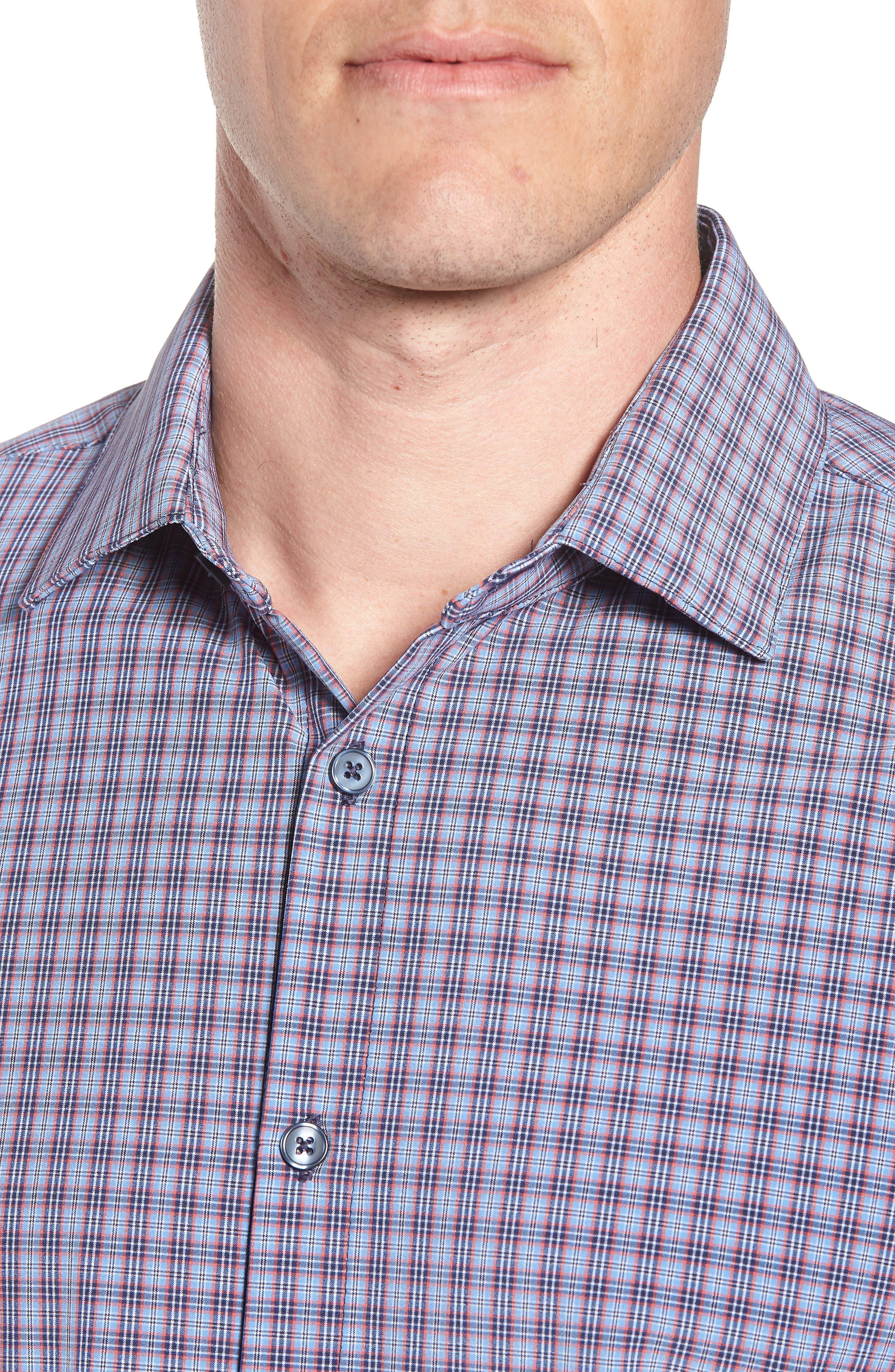 Elliott Trim Fit Check Performance Sport Shirt,                             Alternate thumbnail 4, color,                             482