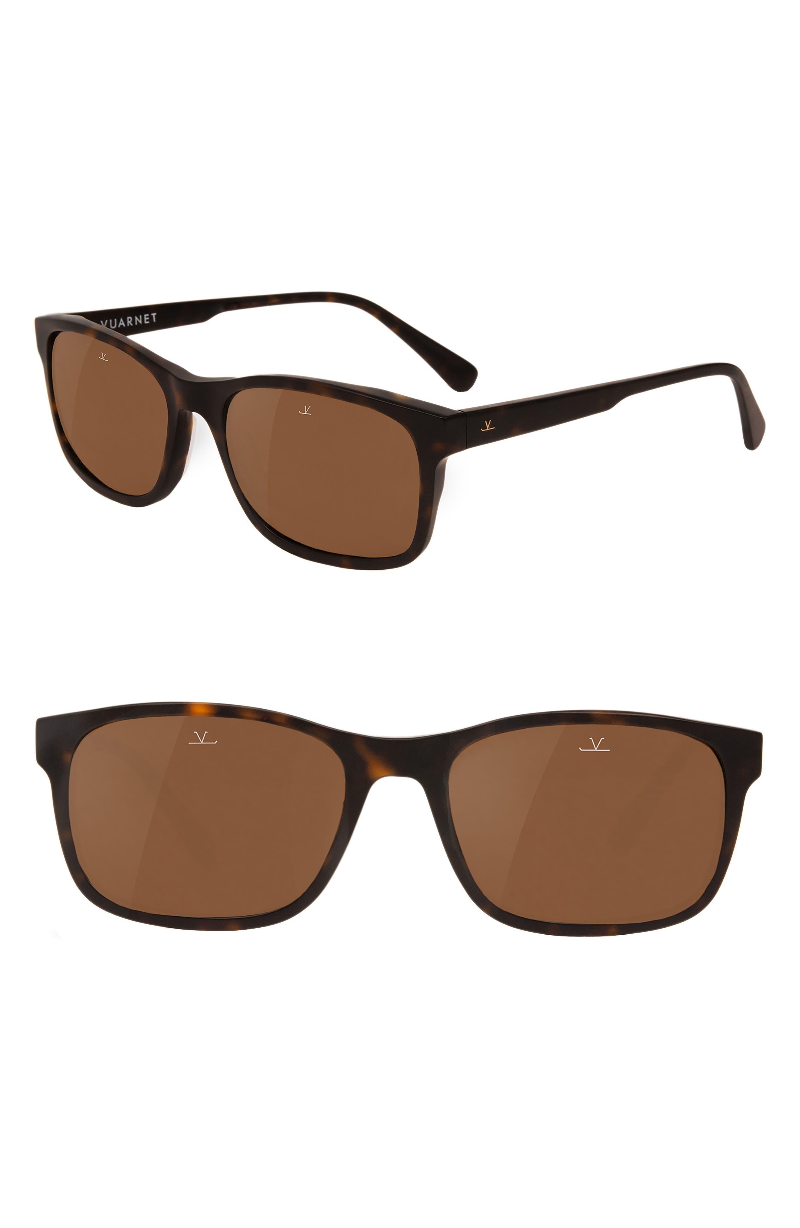 District 55mm Sunglasses,                             Main thumbnail 1, color,                             PURE BROWN