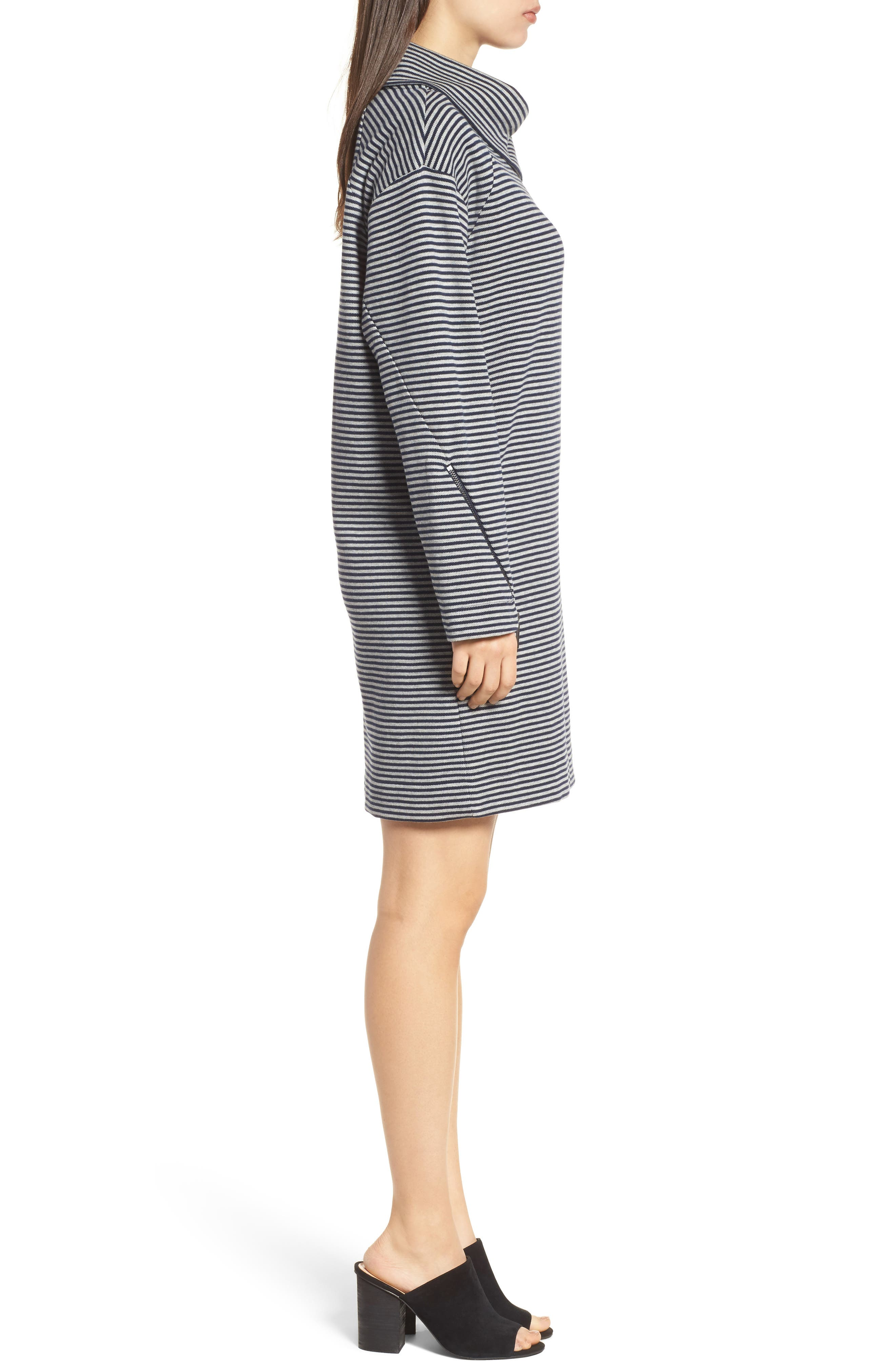 Funnel Zip Neck Dress,                             Alternate thumbnail 3, color,                             463