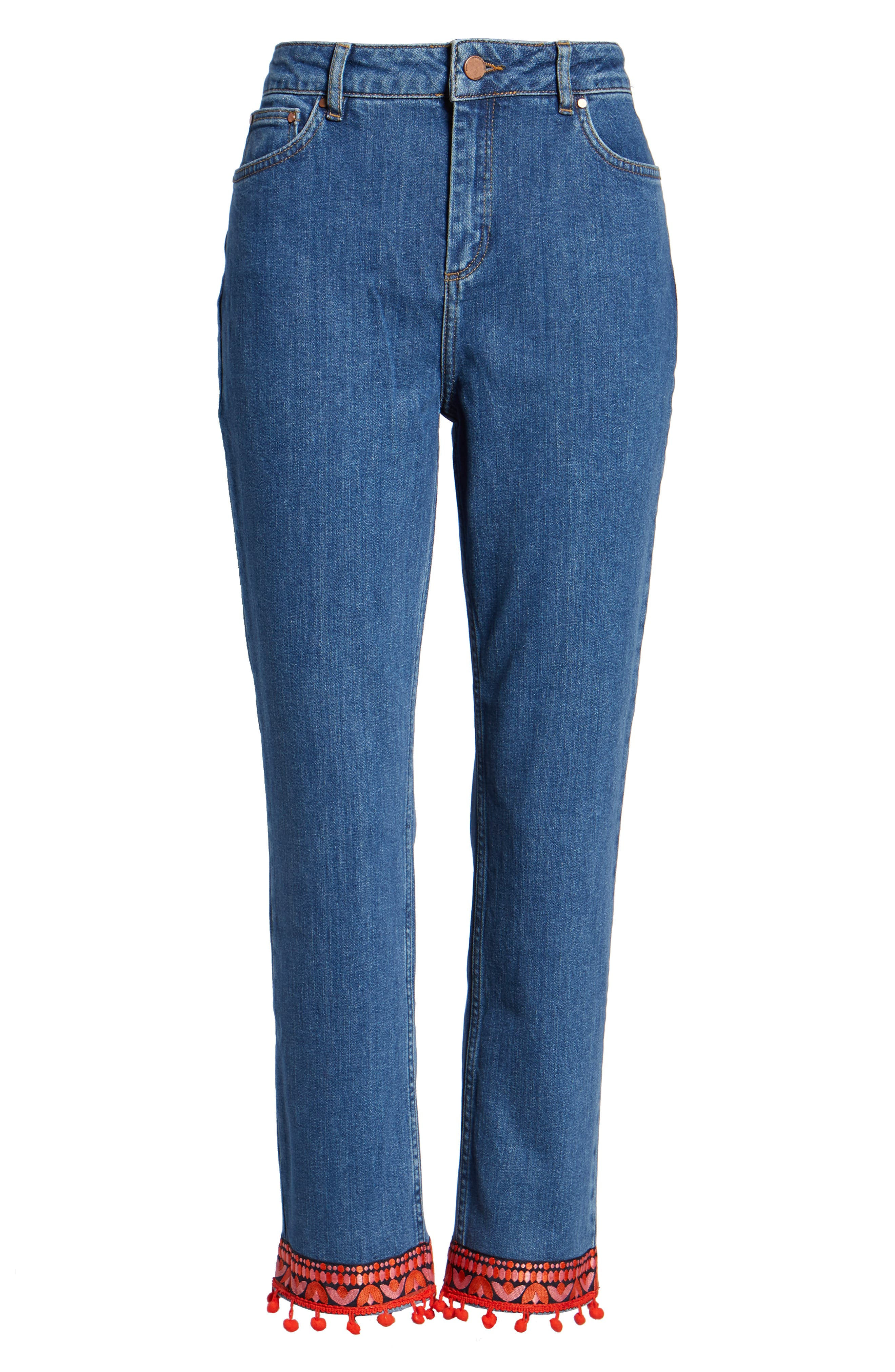 BODEN,                             Cambridge Embellished Ankle Skimmer Jeans,                             Alternate thumbnail 6, color,                             469