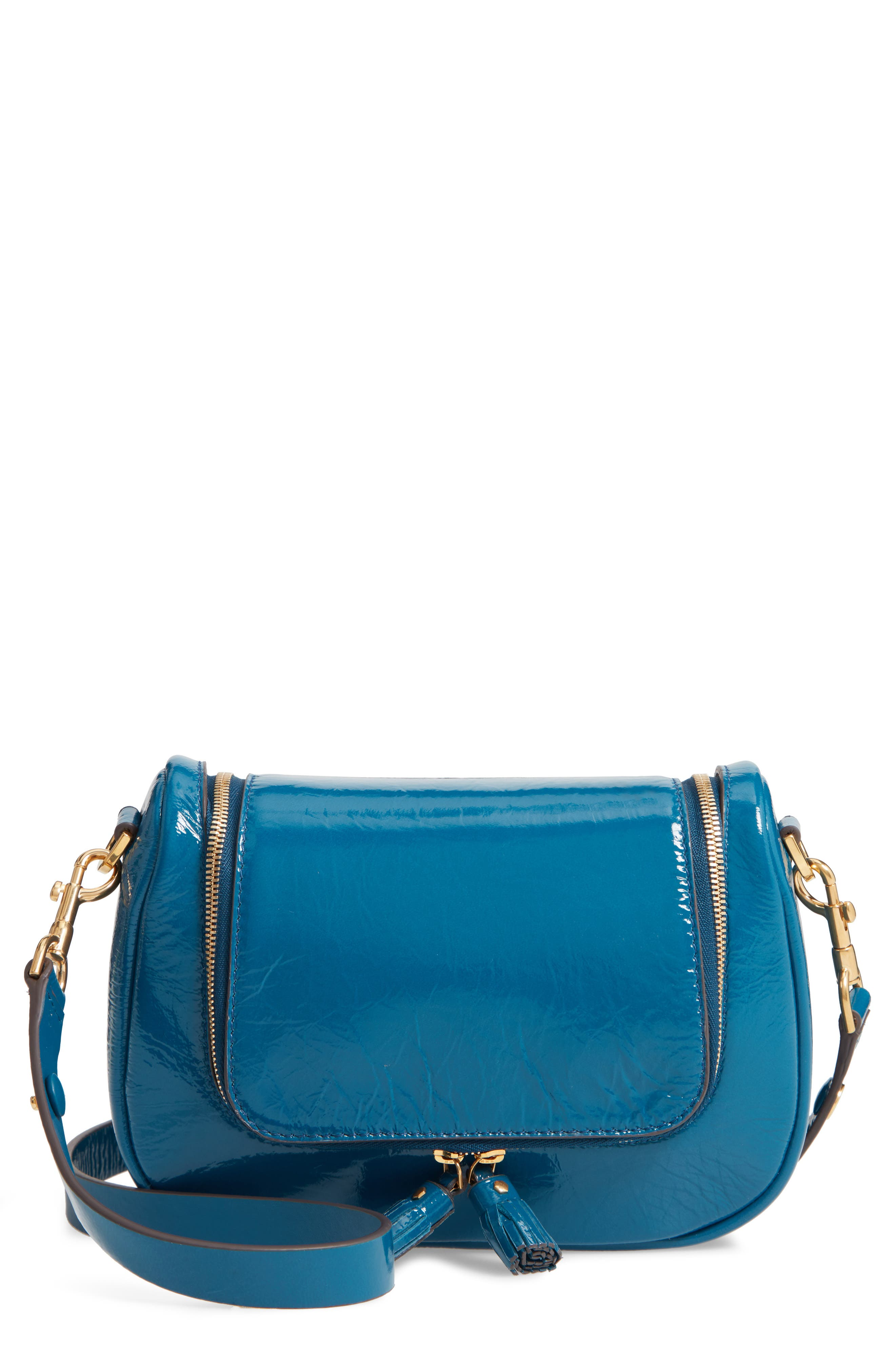 Small Vere Lambskin Leather Crossbody Satchel - Blue in Light Petrol
