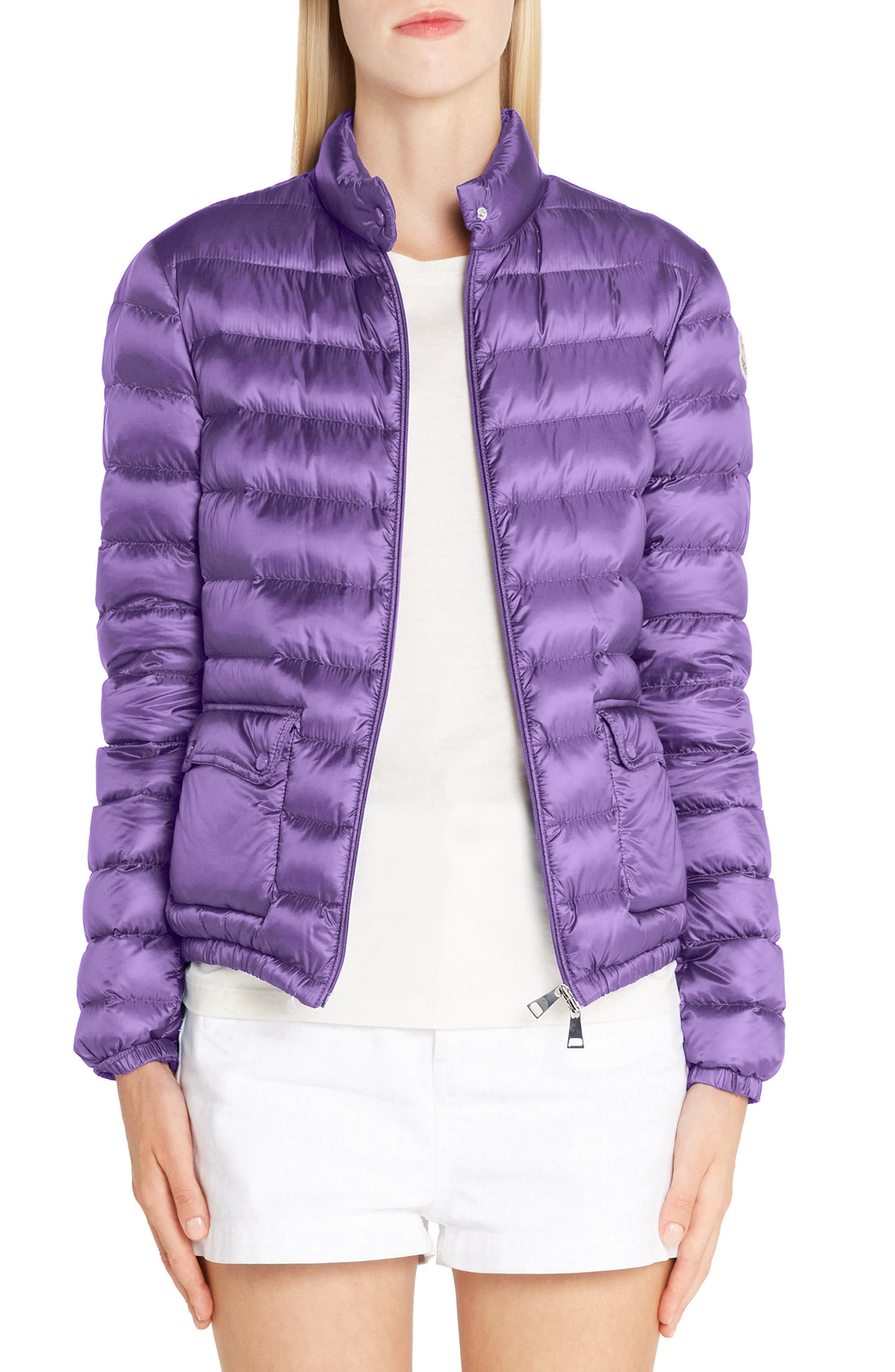 Moncler Lans Water Resistant Quilted Down Jacket, Purple