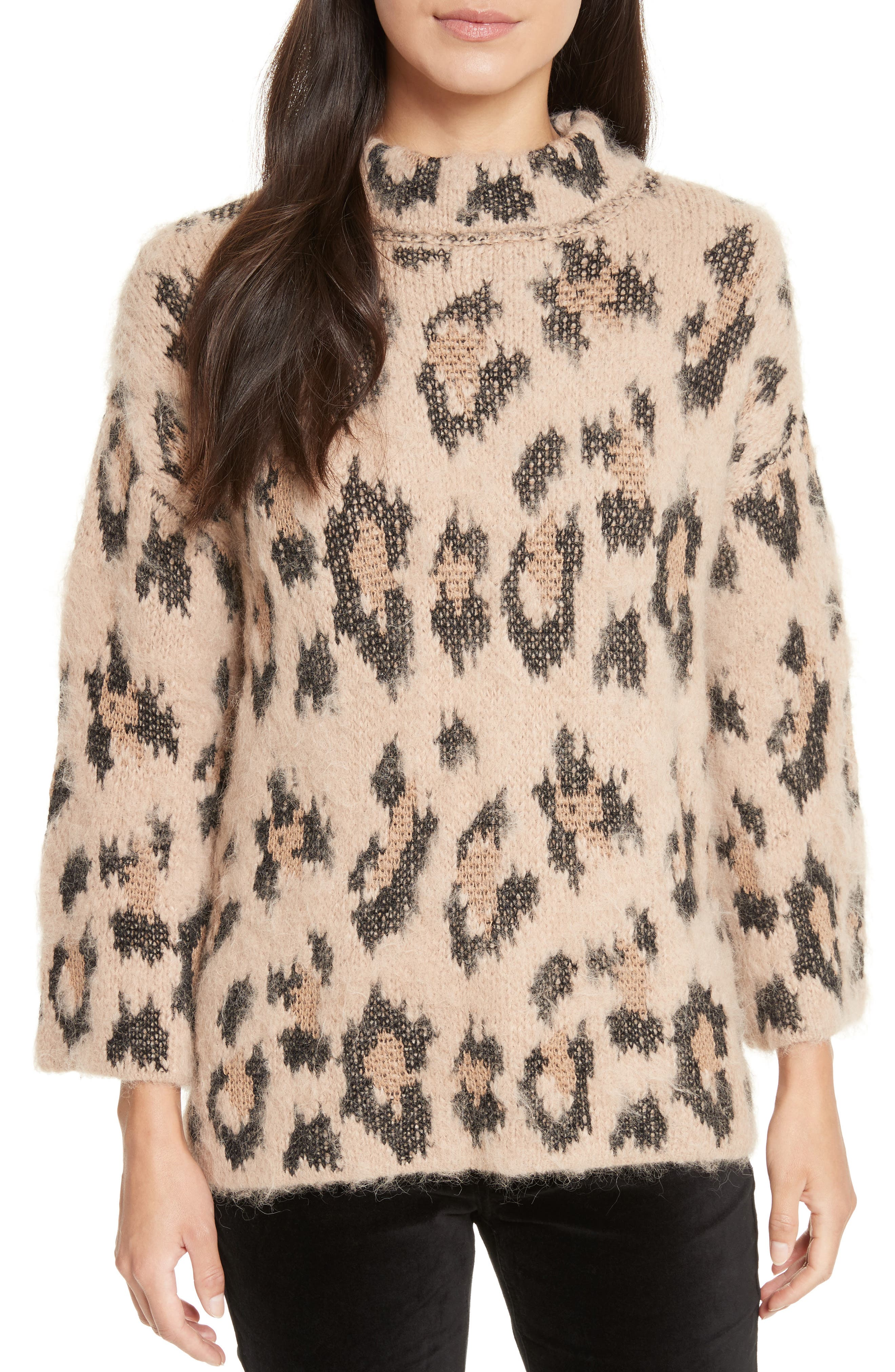 leopard print chunky sweater,                         Main,                         color, 206