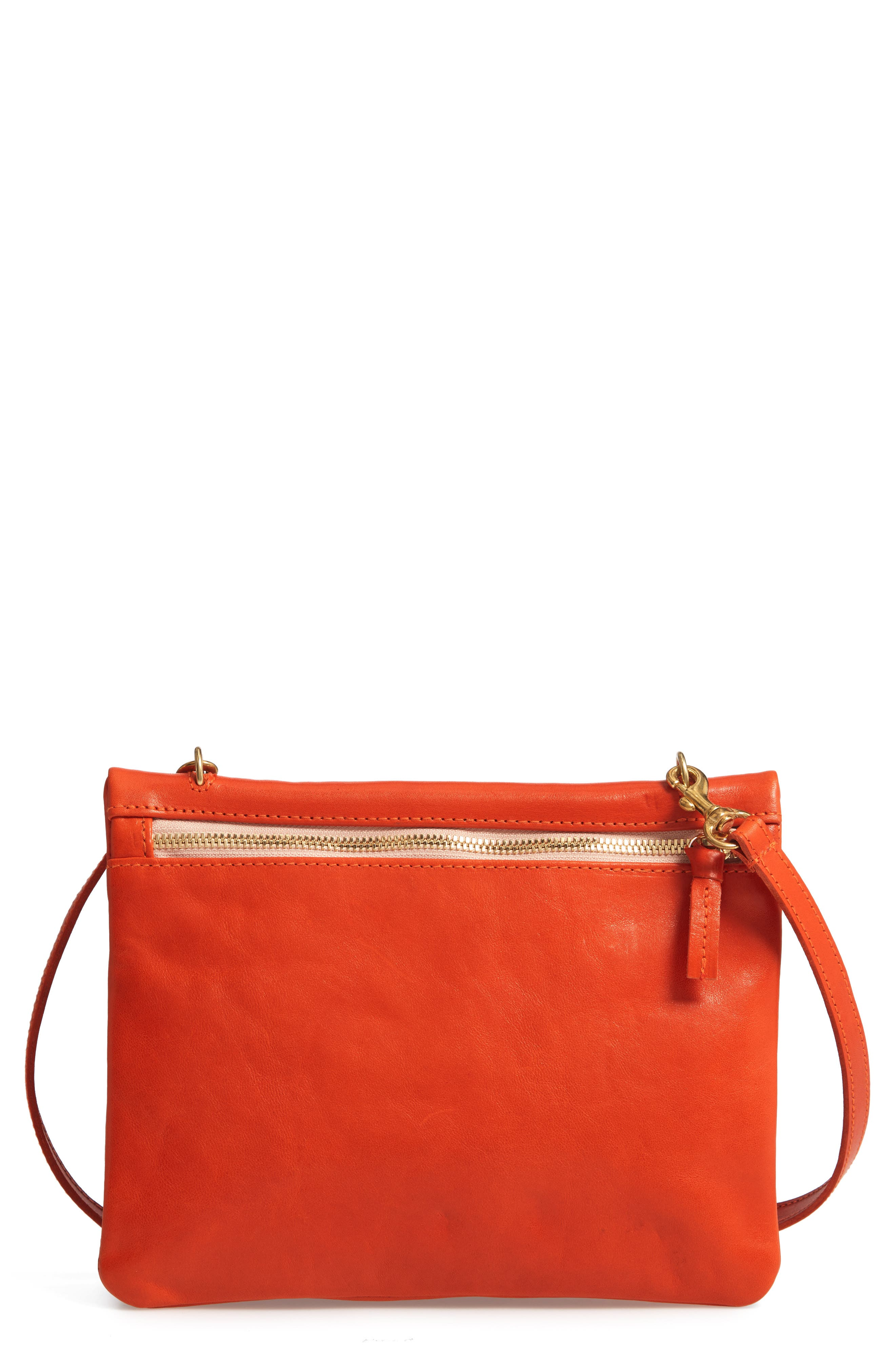CLARE V Jumelle Leather Crossbody Bag - Red in Poppy Rustic