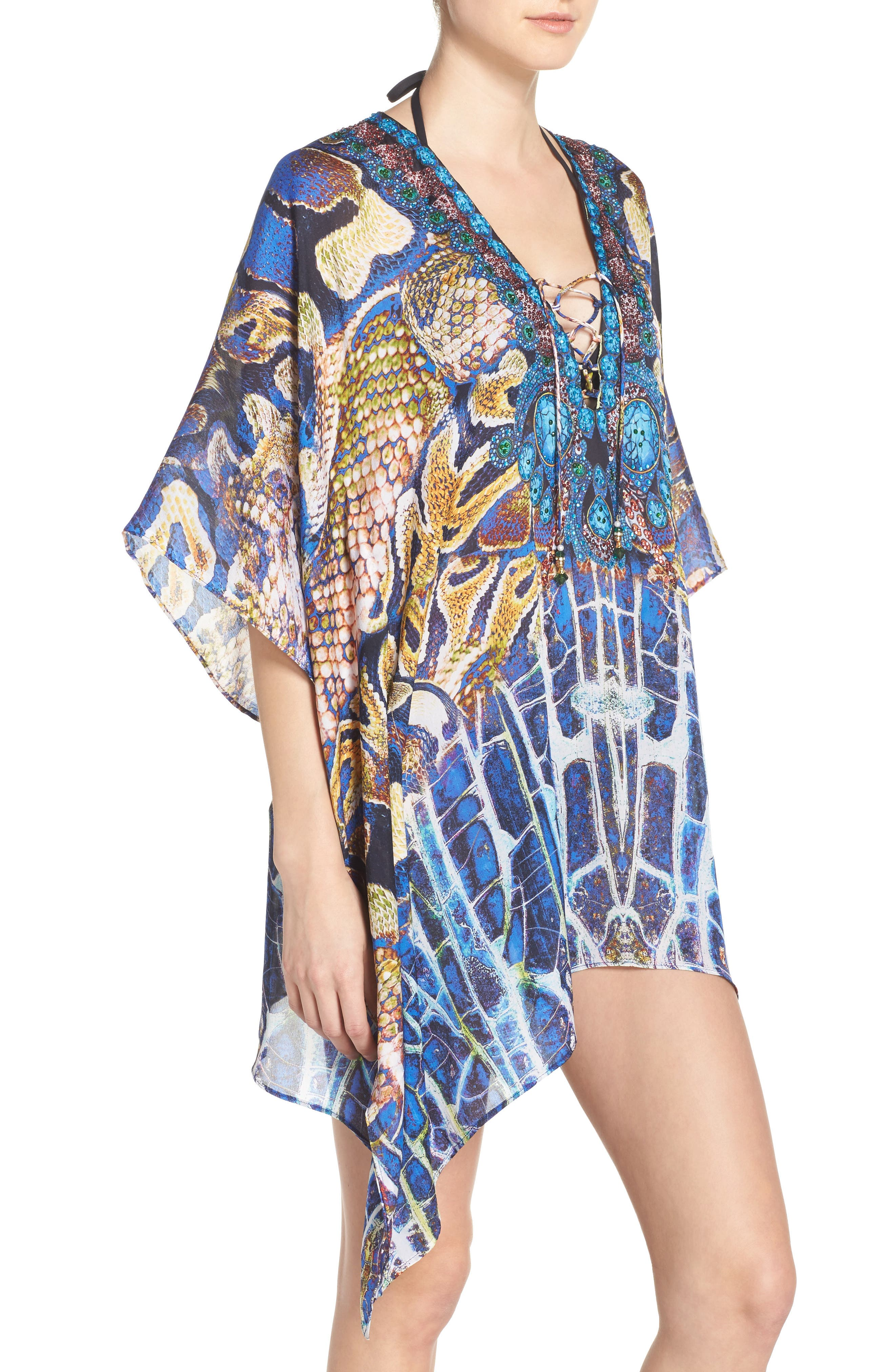 Paris Short Kaftan,                             Alternate thumbnail 3, color,                             400