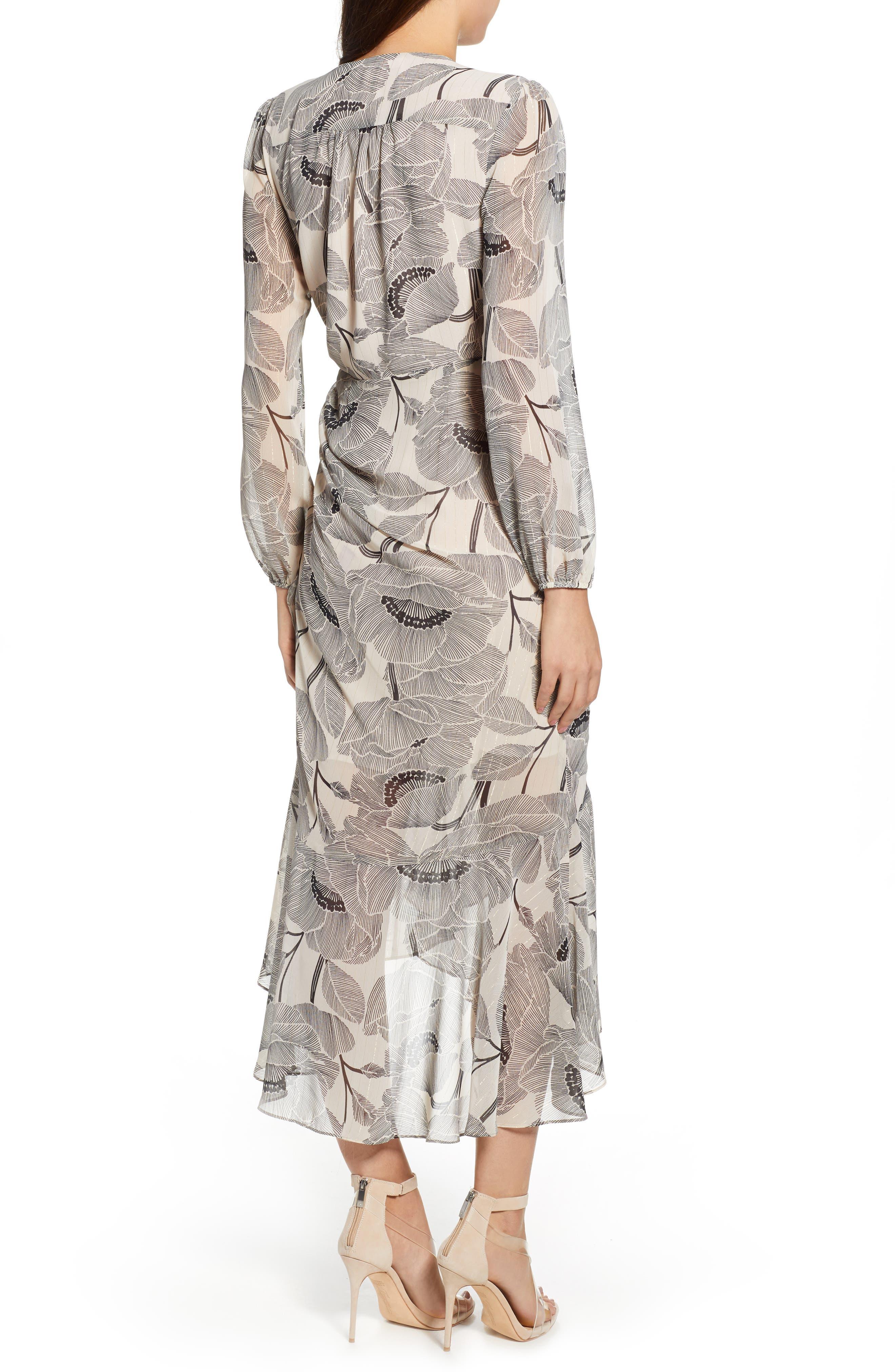 ASTR THE LABEL,                             Floral Print Faux Wrap Dress,                             Alternate thumbnail 2, color,                             IVORY FLORAL