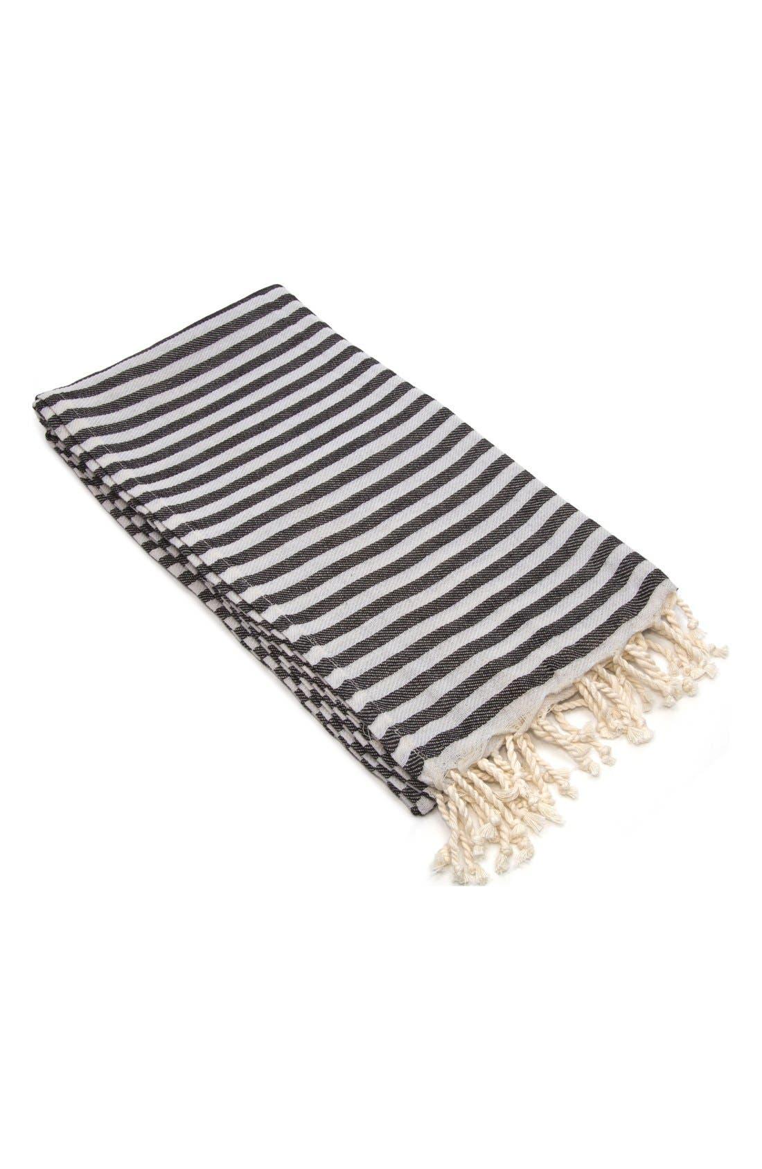 'Fun in the Sun' Turkish Pestemal Towel,                         Main,                         color, CHARCOAL BLACK