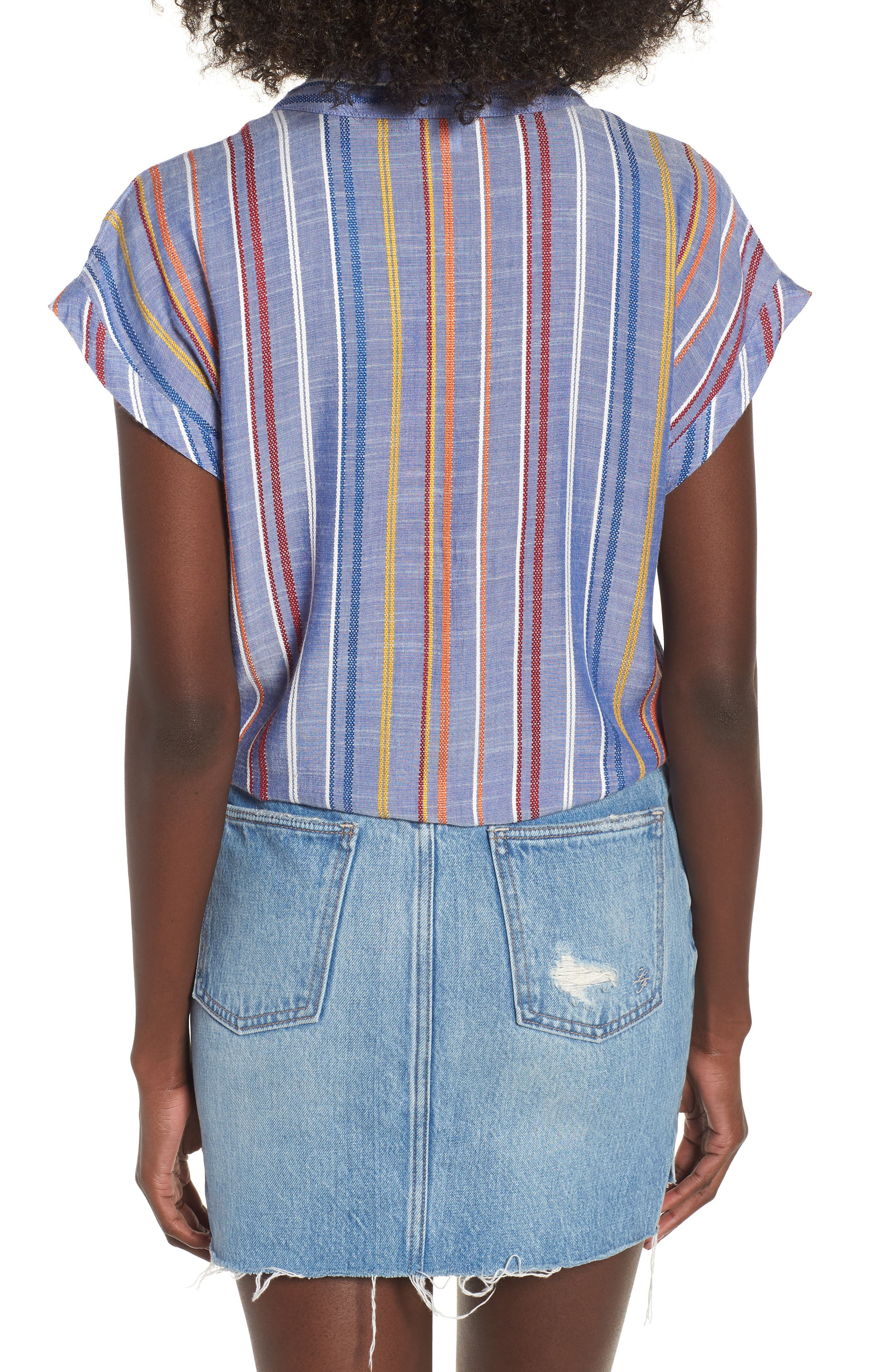 Stripe Tie Front Shirt,                             Alternate thumbnail 2, color,                             410