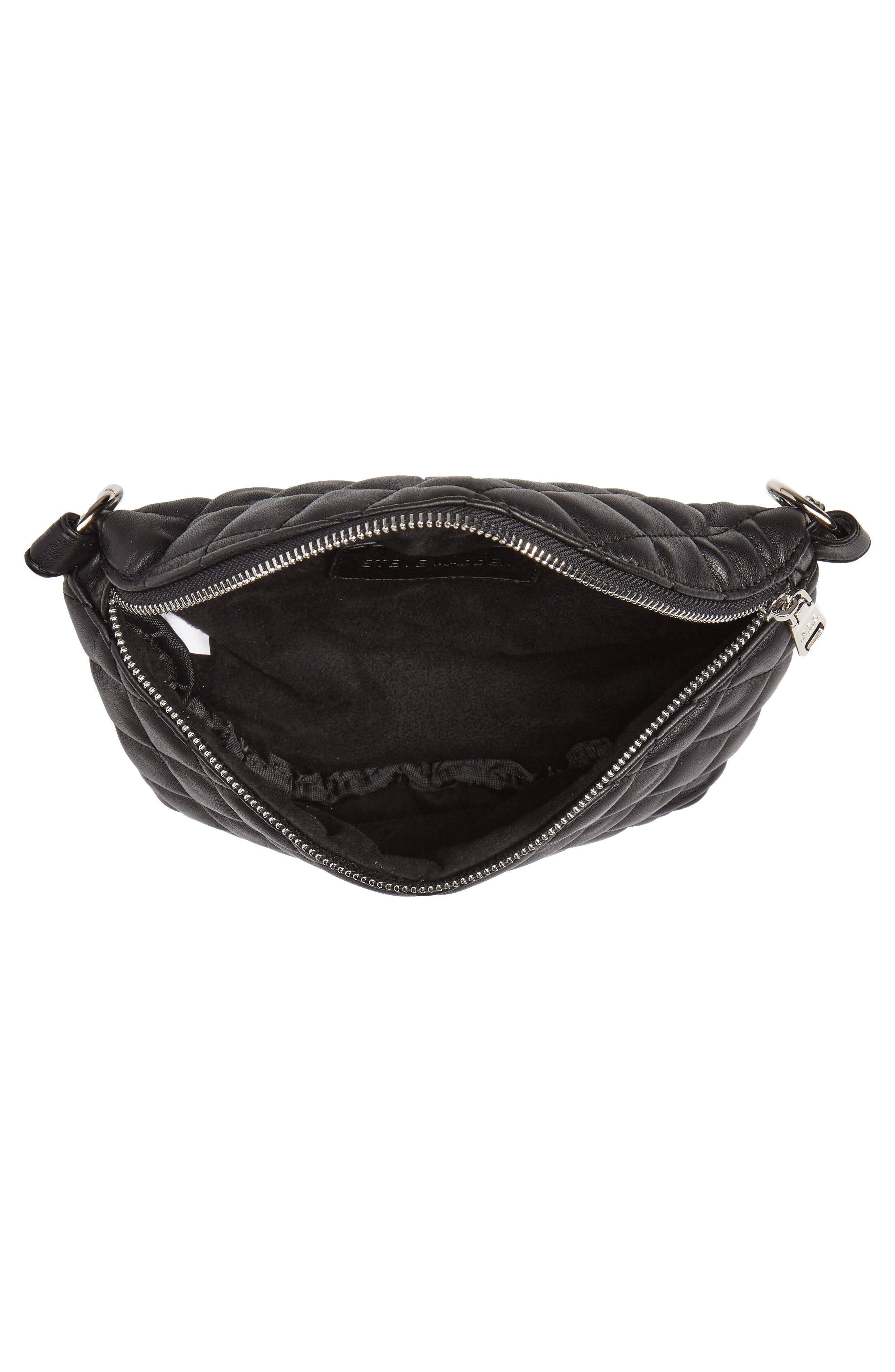 Quilted Faux Leather Fanny Pack,                             Alternate thumbnail 7, color,                             BLACK