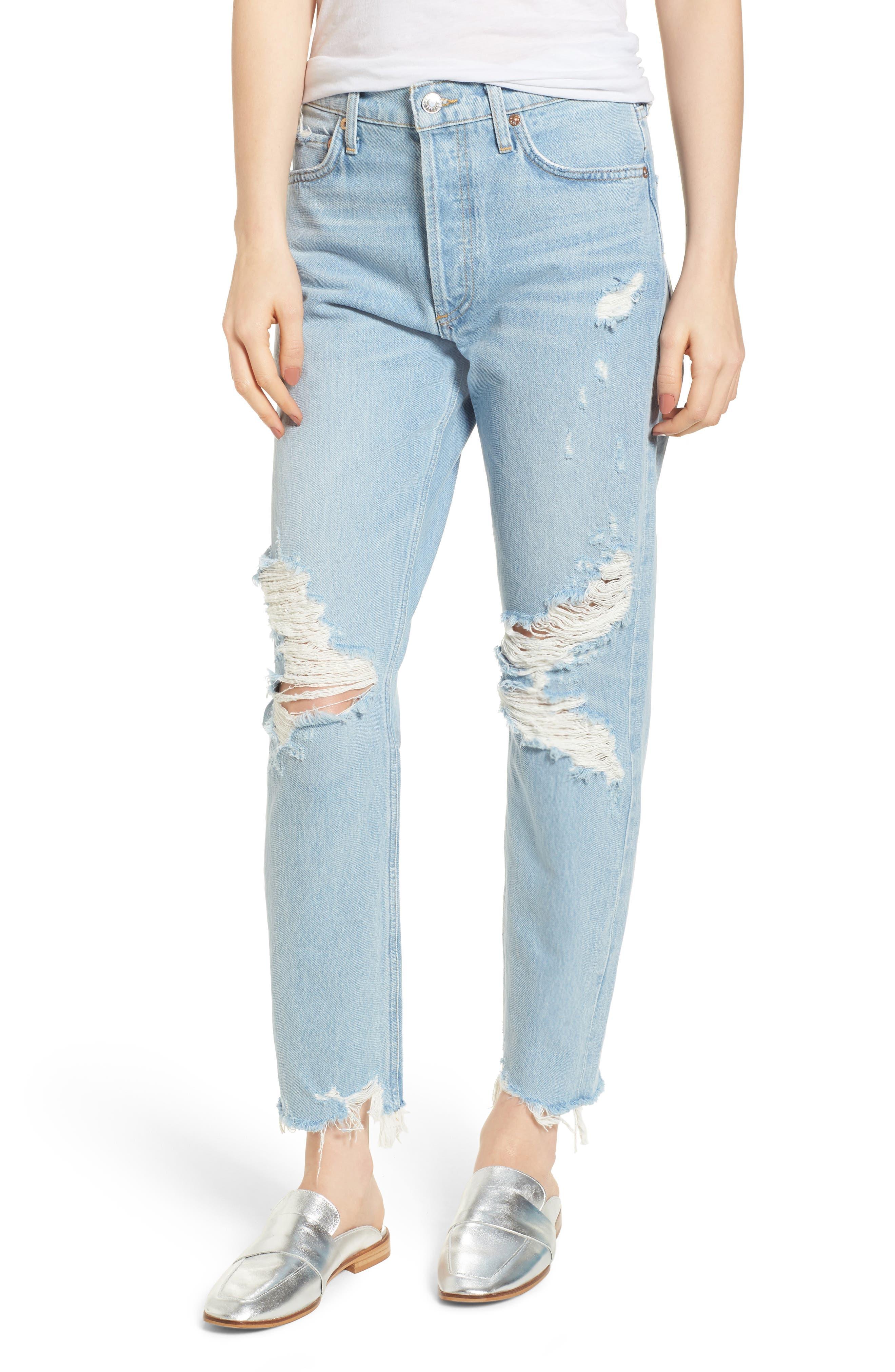 Jamie High Waist Ankle Jeans,                             Main thumbnail 1, color,                             453