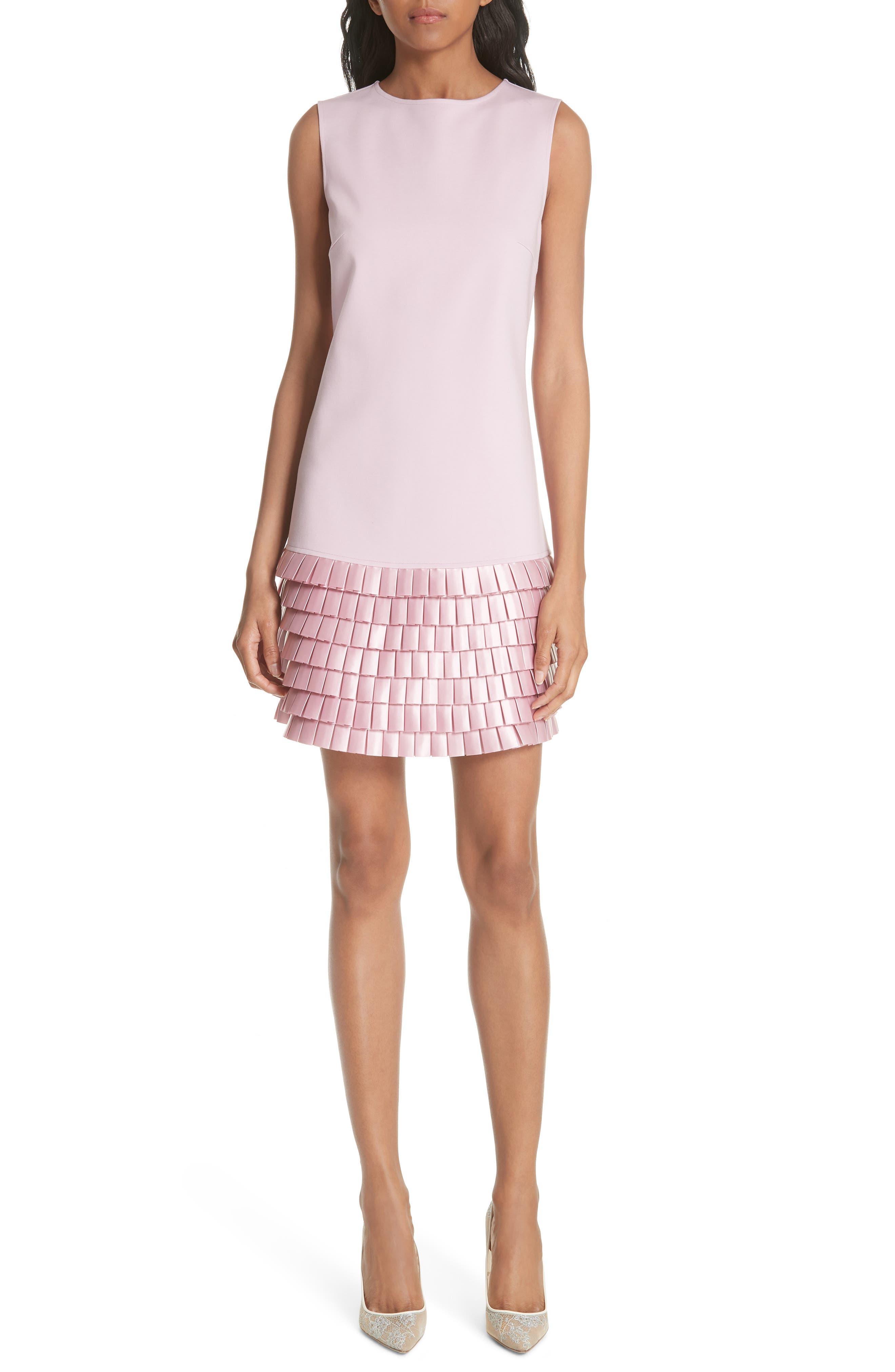 TED BAKER LONDON Satin Pleat Detail Shift Dress, Main, color, 680