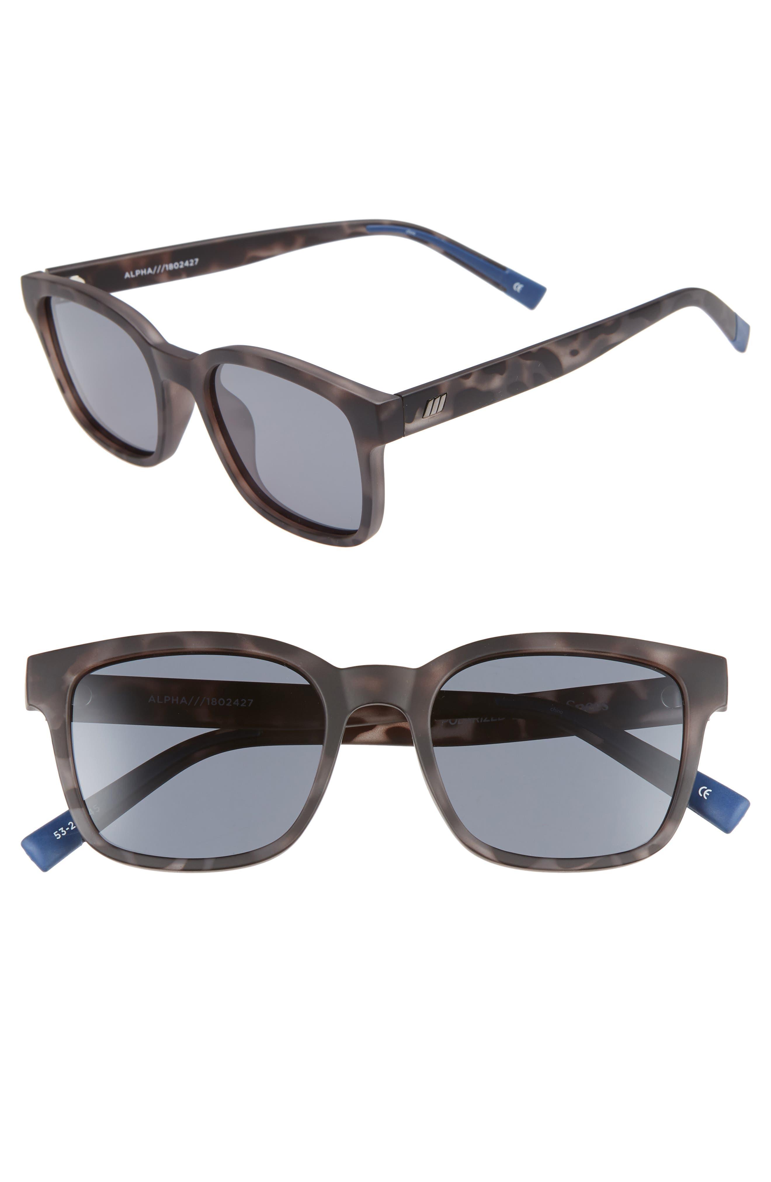 Alpha Basic 53mm Polarized Rectangular Sunglasses,                         Main,                         color, MATTE COAL TORT