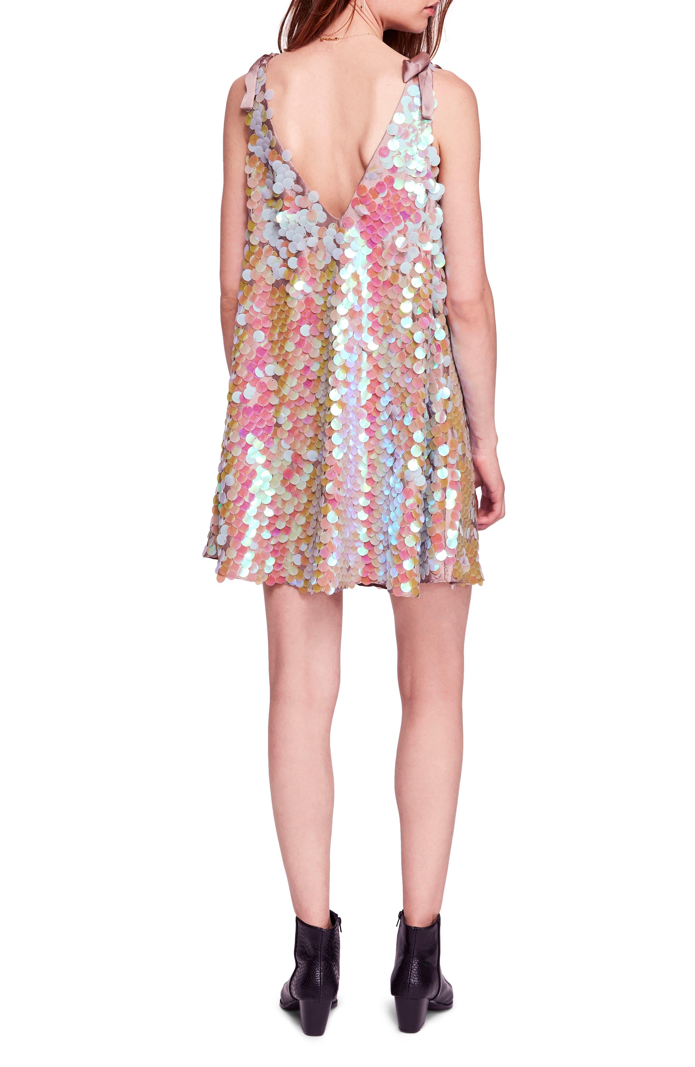 Penelope Glitter Disc Sequin Swing Dress,                             Alternate thumbnail 2, color,                             440