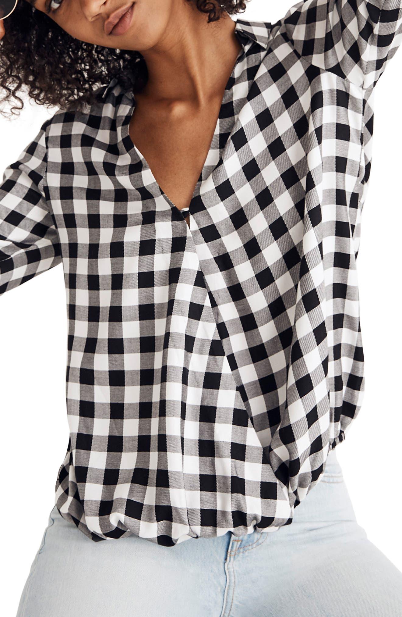 Buffalo Check Wrap Front Shirt,                         Main,                         color, TRUE BLACK
