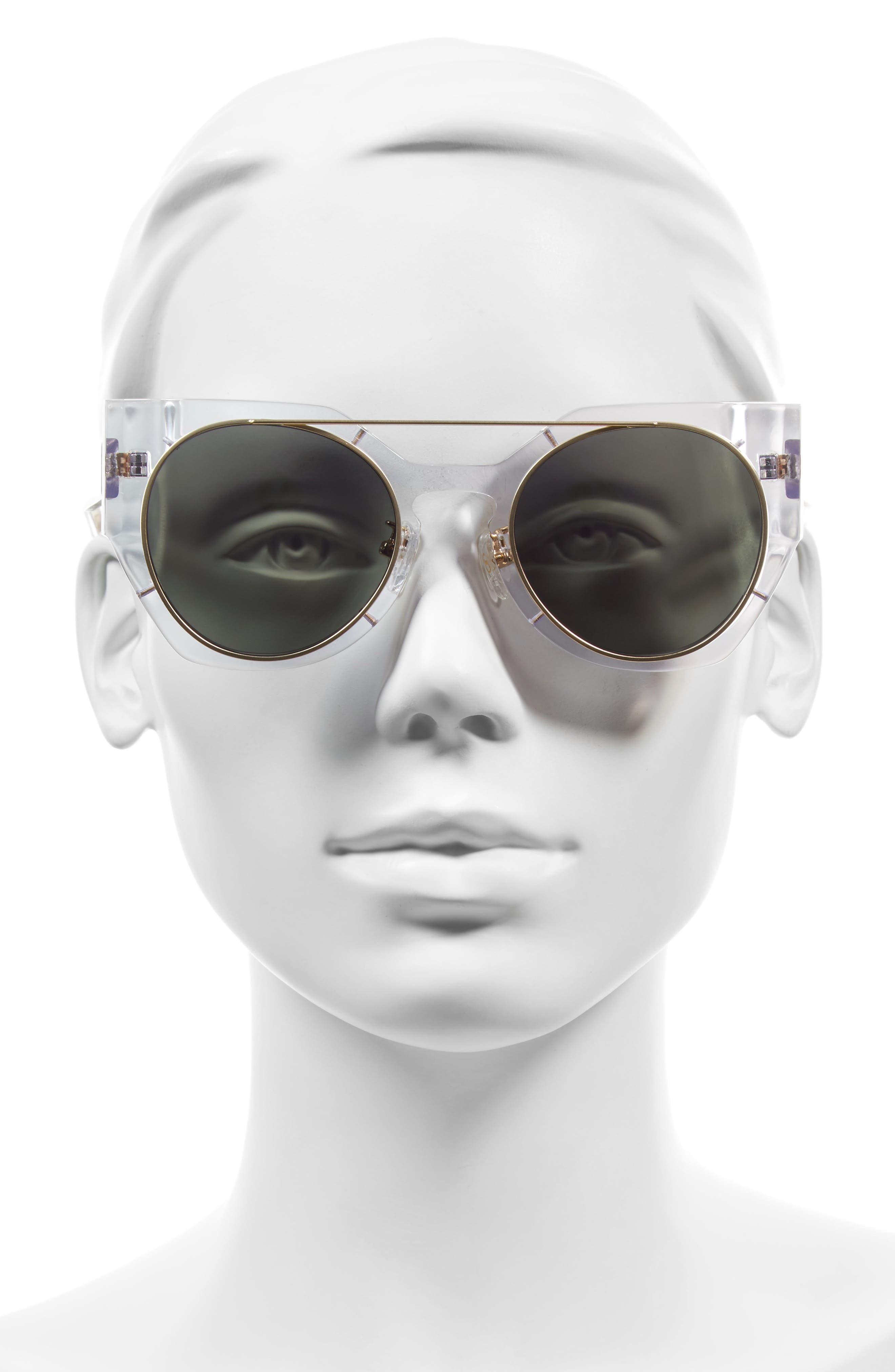 Olive 51mm Polarized Cat Eye Sunglasses,                             Alternate thumbnail 7, color,