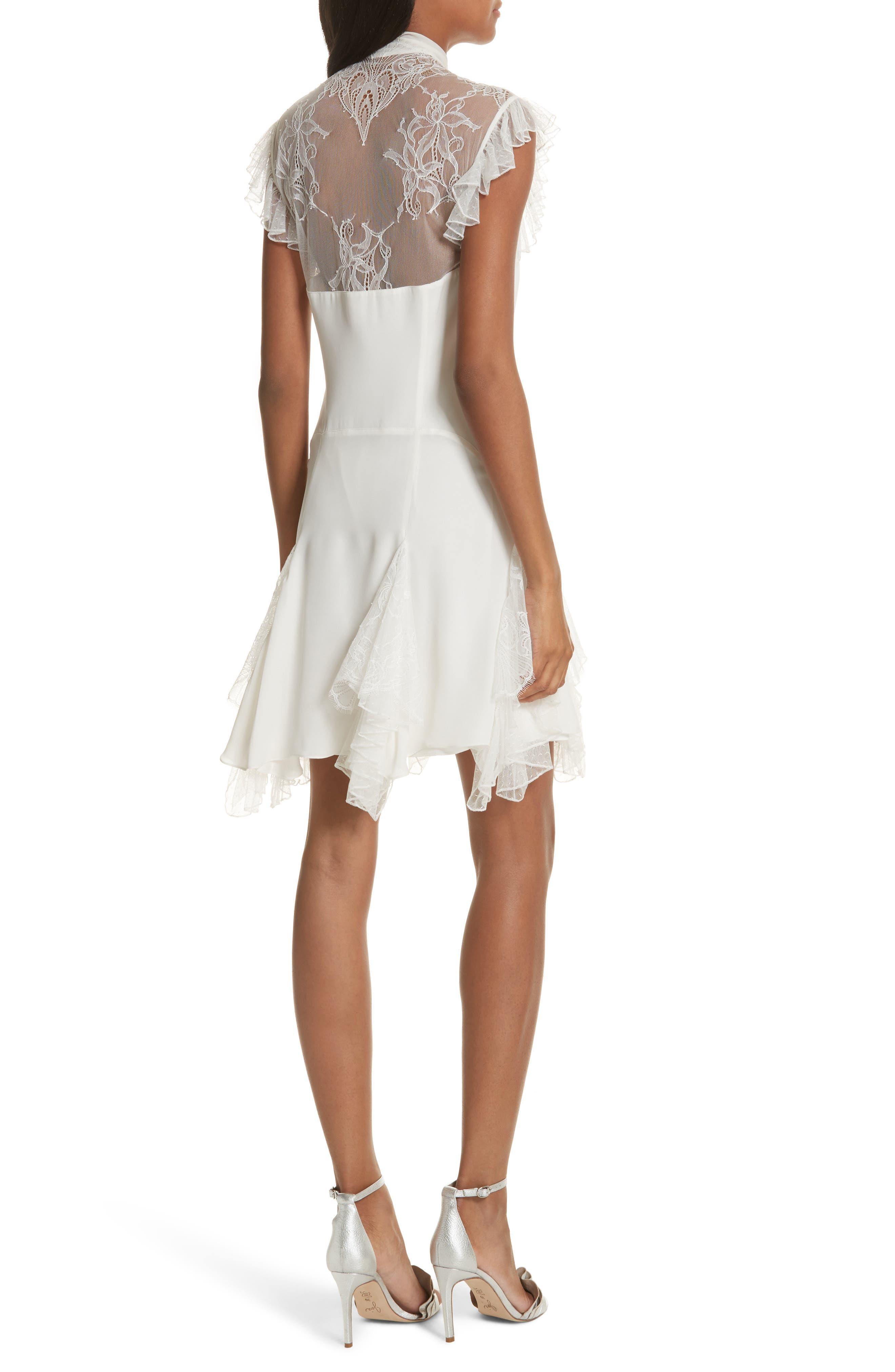 Clotilde Lace Trim Silk Dress with Scarf,                             Alternate thumbnail 2, color,