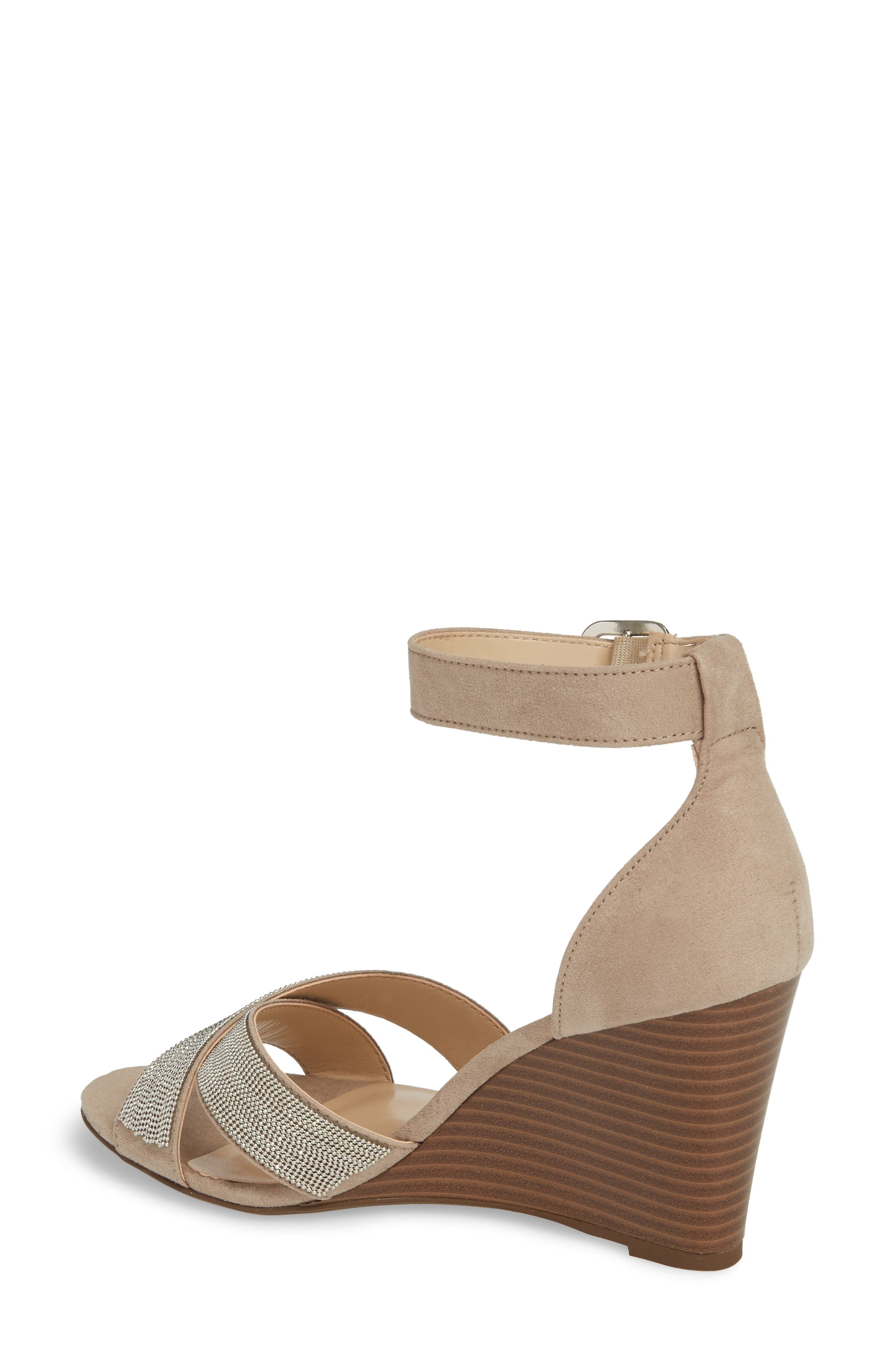 Zorra Wedge Sandal,                             Alternate thumbnail 2, color,                             TAUPE SUEDE