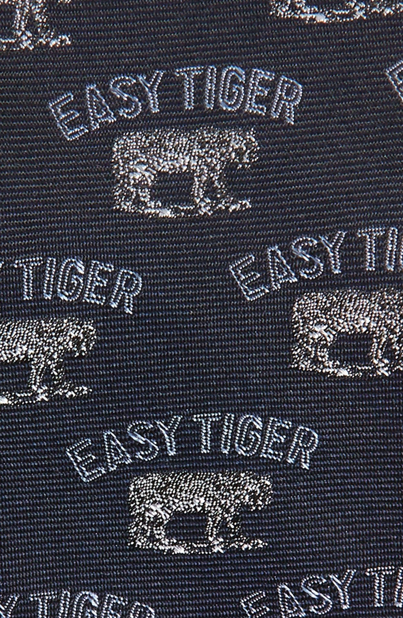 Easy Tiger Print Silk Tie,                             Alternate thumbnail 2, color,                             NAVY
