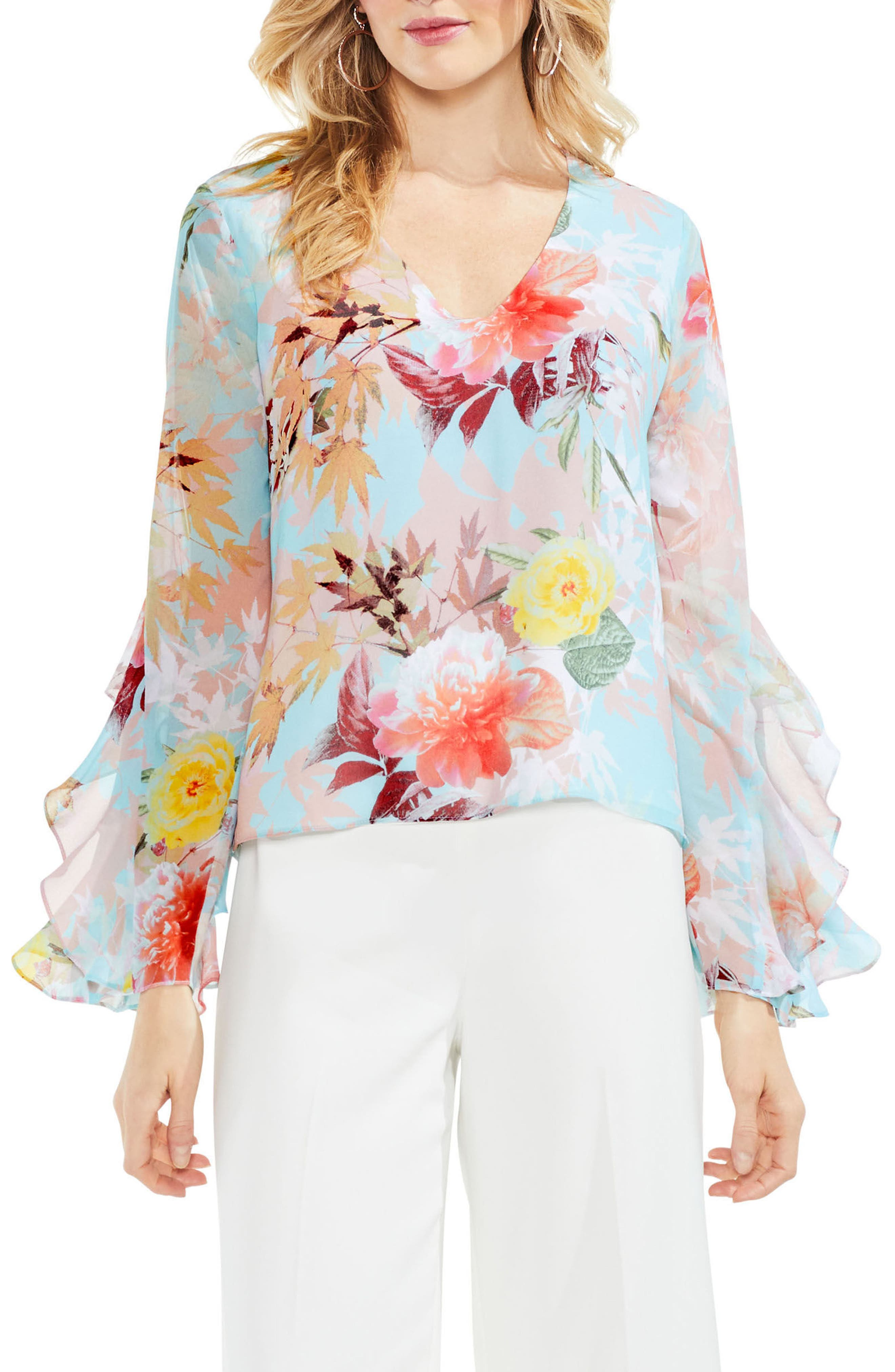 Faded Bloom Ruffle Sleeve Blouse,                         Main,                         color, 487
