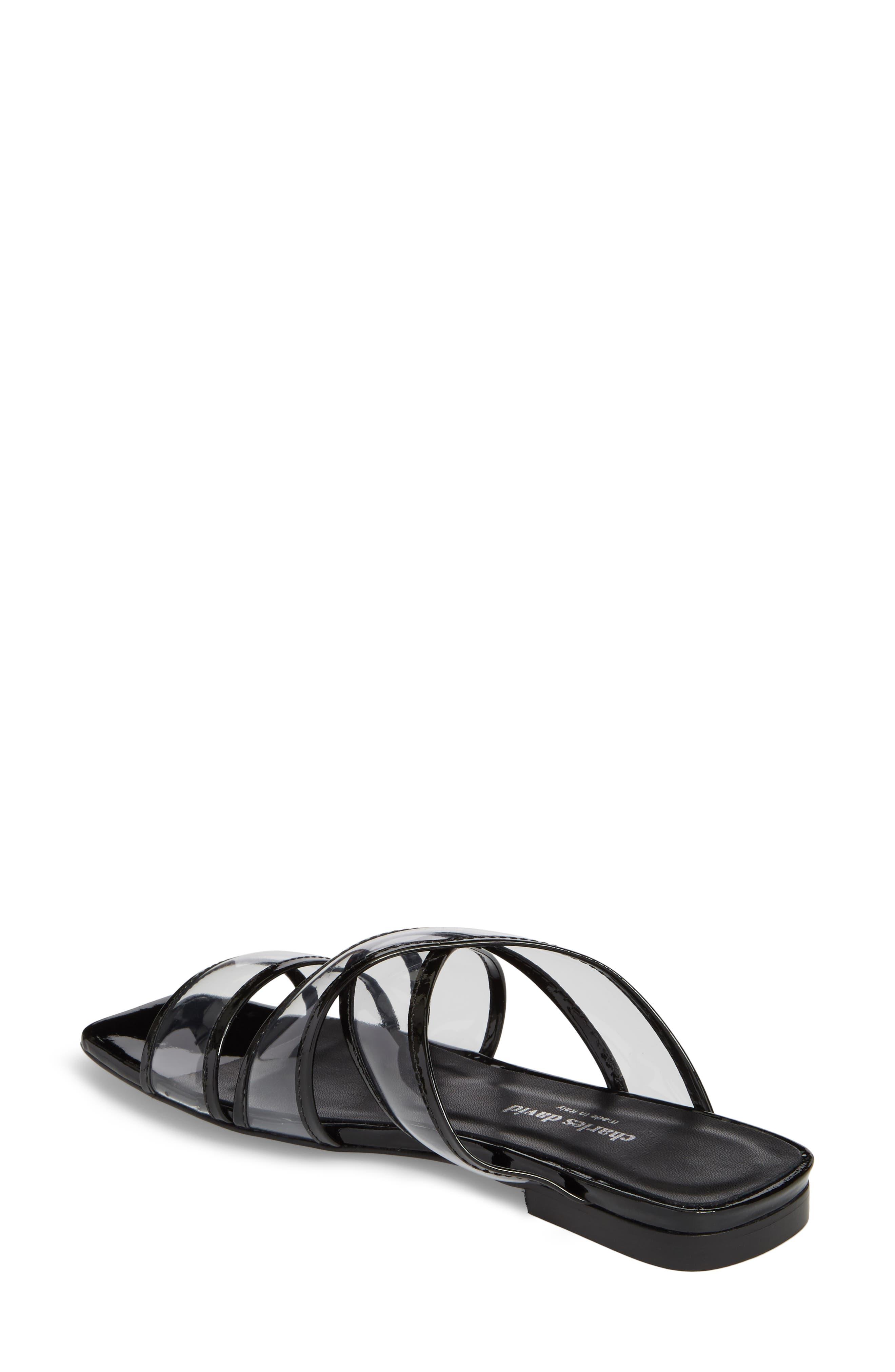 Drea Transparent Strap Slide Sandal,                             Alternate thumbnail 2, color,                             BLACK