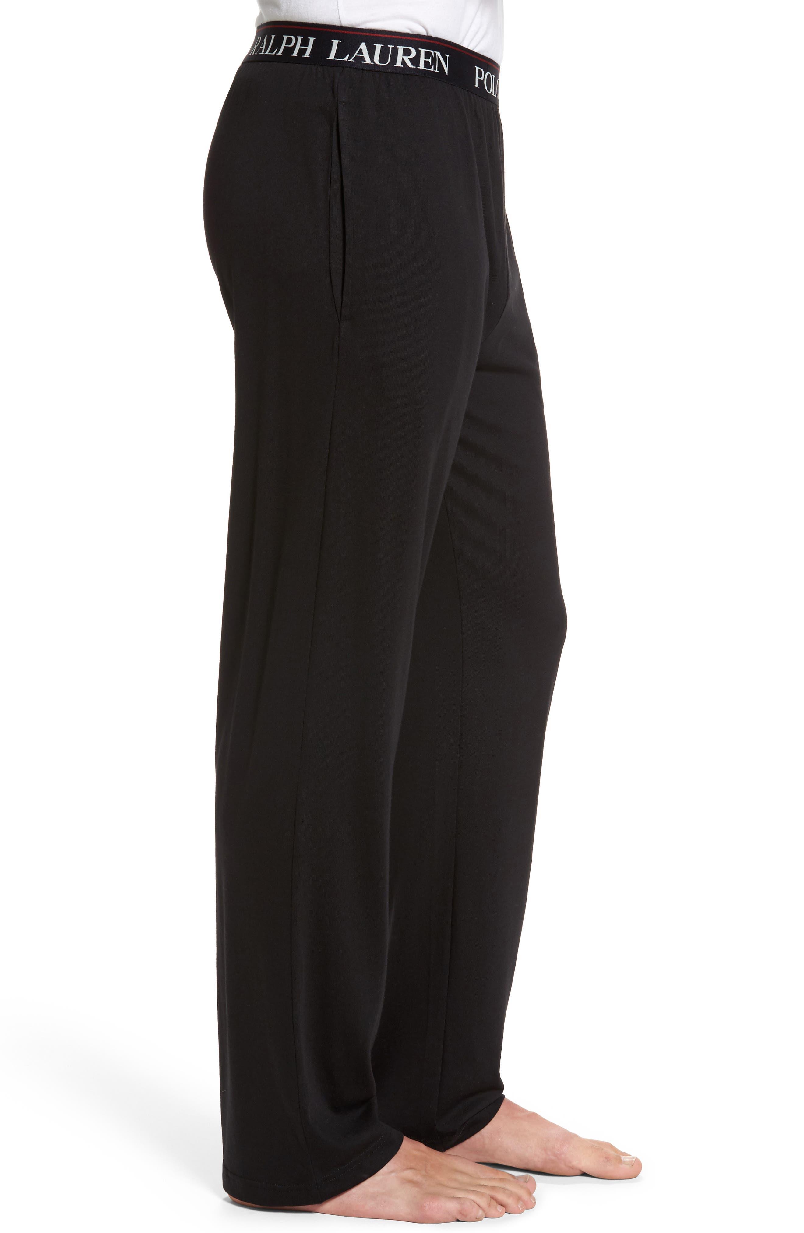 Cotton & Modal Lounge Pants,                             Alternate thumbnail 3, color,                             POLO BLACK