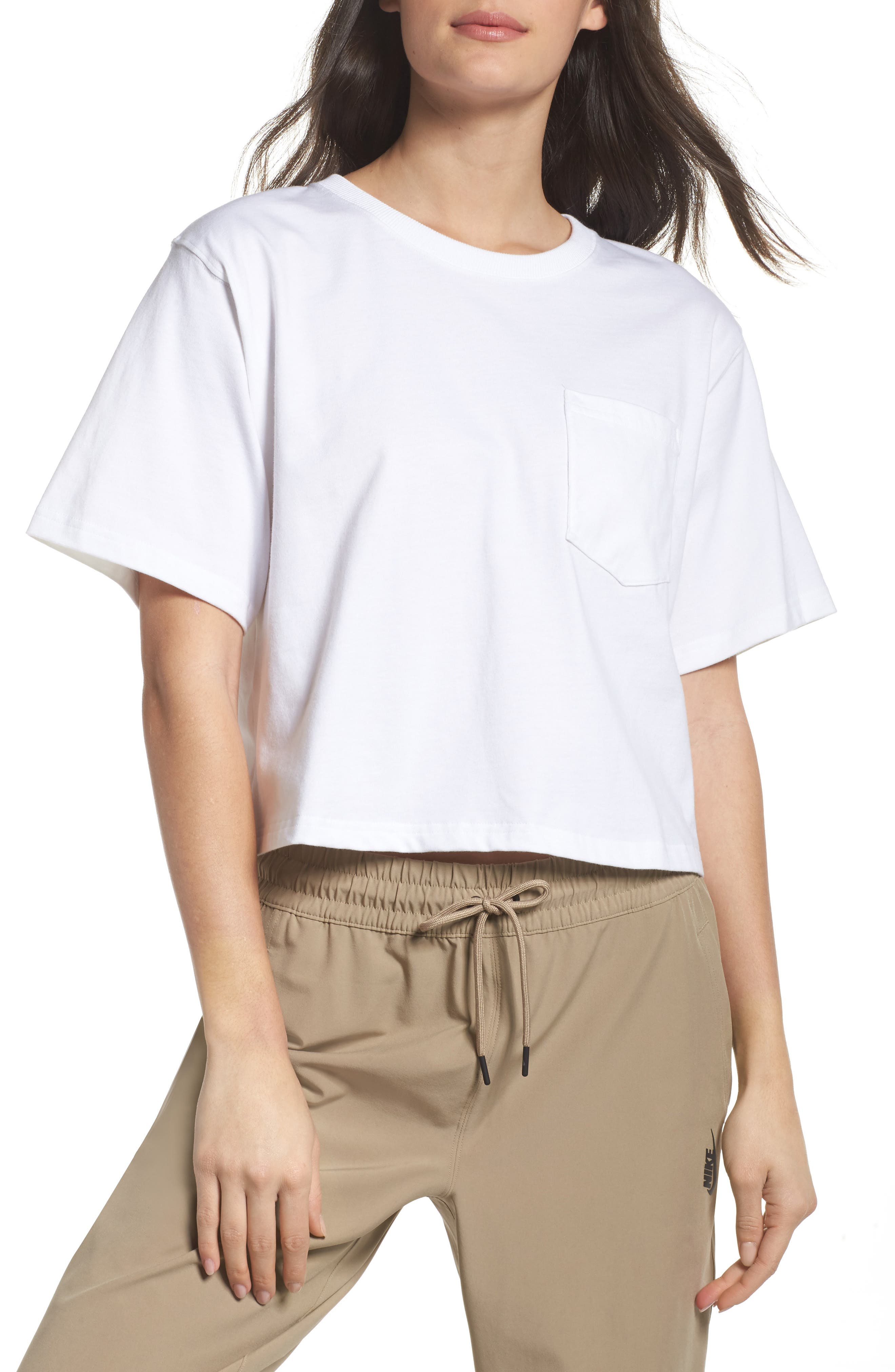 NikeLab Collection Crop Tee,                         Main,                         color, WHITE/ BLACK