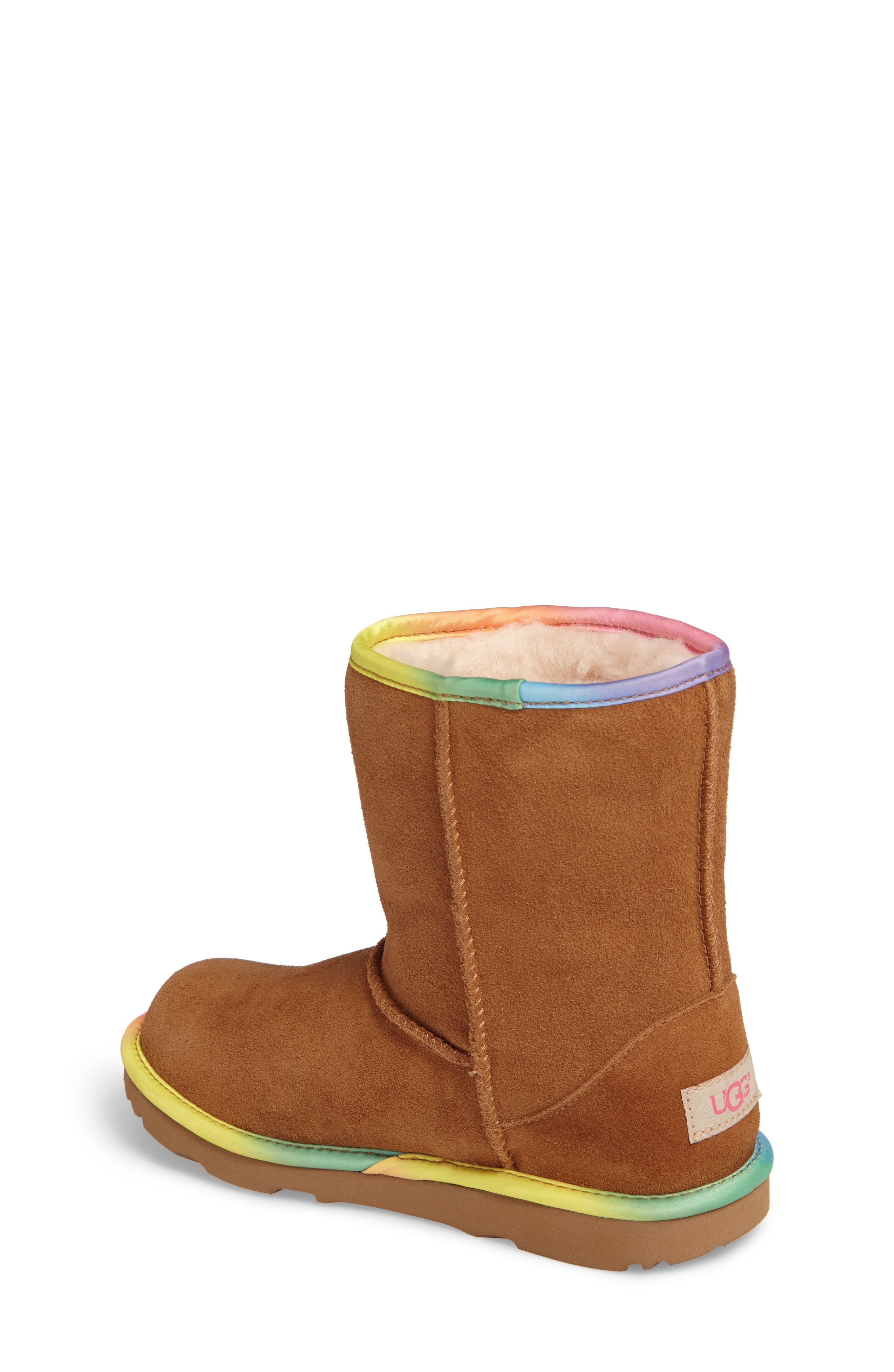 Classic Short II Water-Resistant Genuine Shearling Rainbow Boot,                             Alternate thumbnail 3, color,