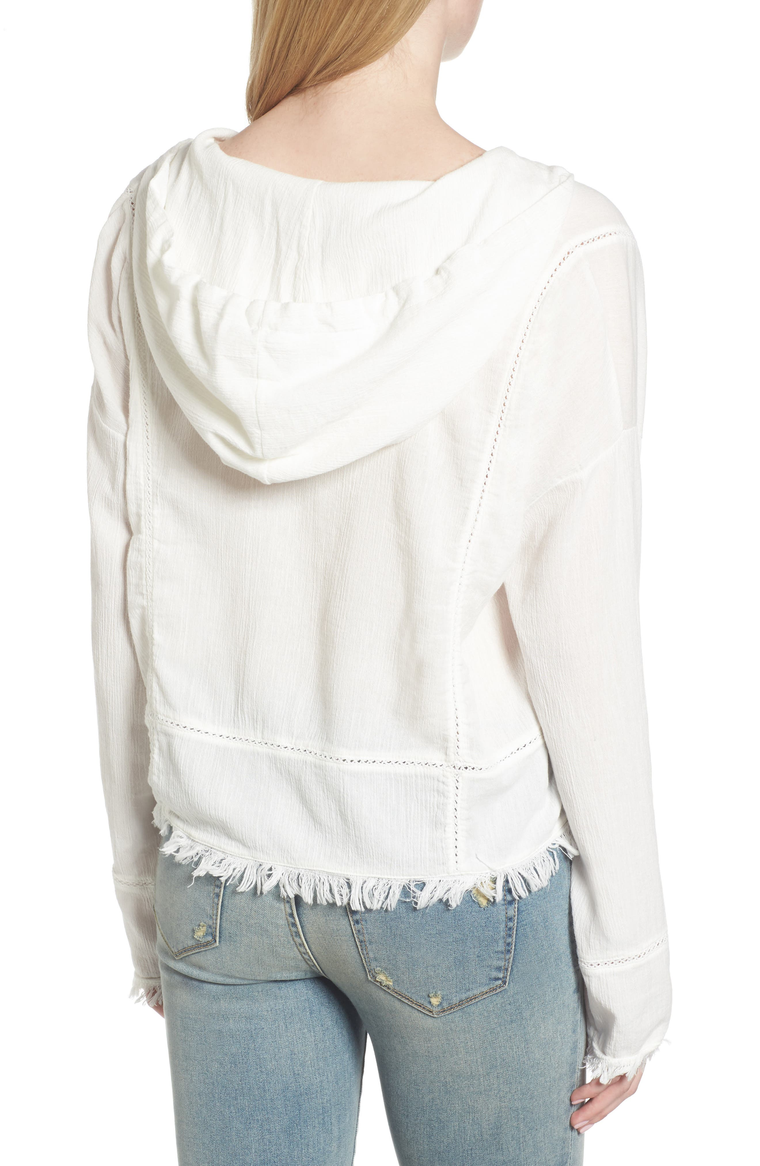 Frayed Hooded Top,                             Alternate thumbnail 2, color,                             100