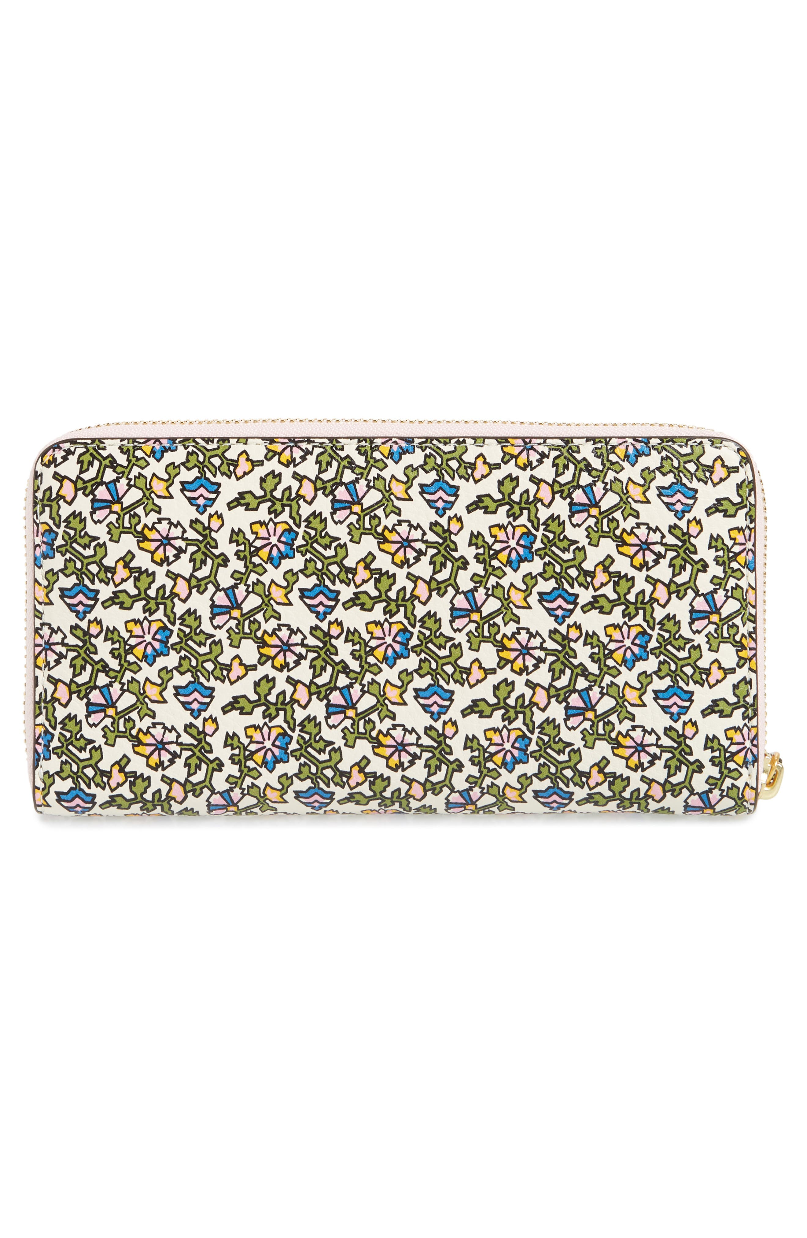 Floral Print Leather Zip Around Wallet,                             Alternate thumbnail 4, color,                             100