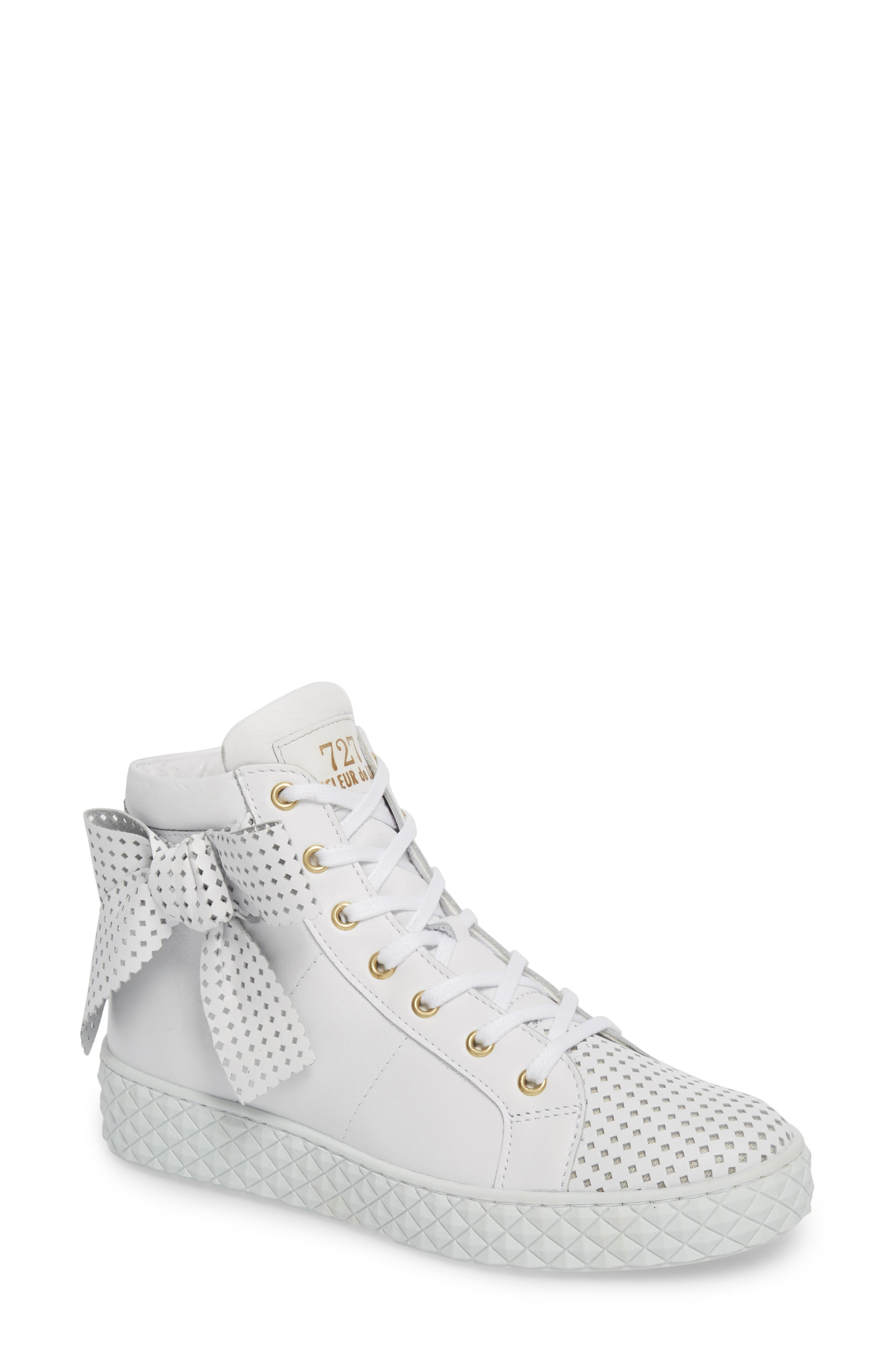 Avery High Top Sneaker,                         Main,                         color, WHITE LEATHER