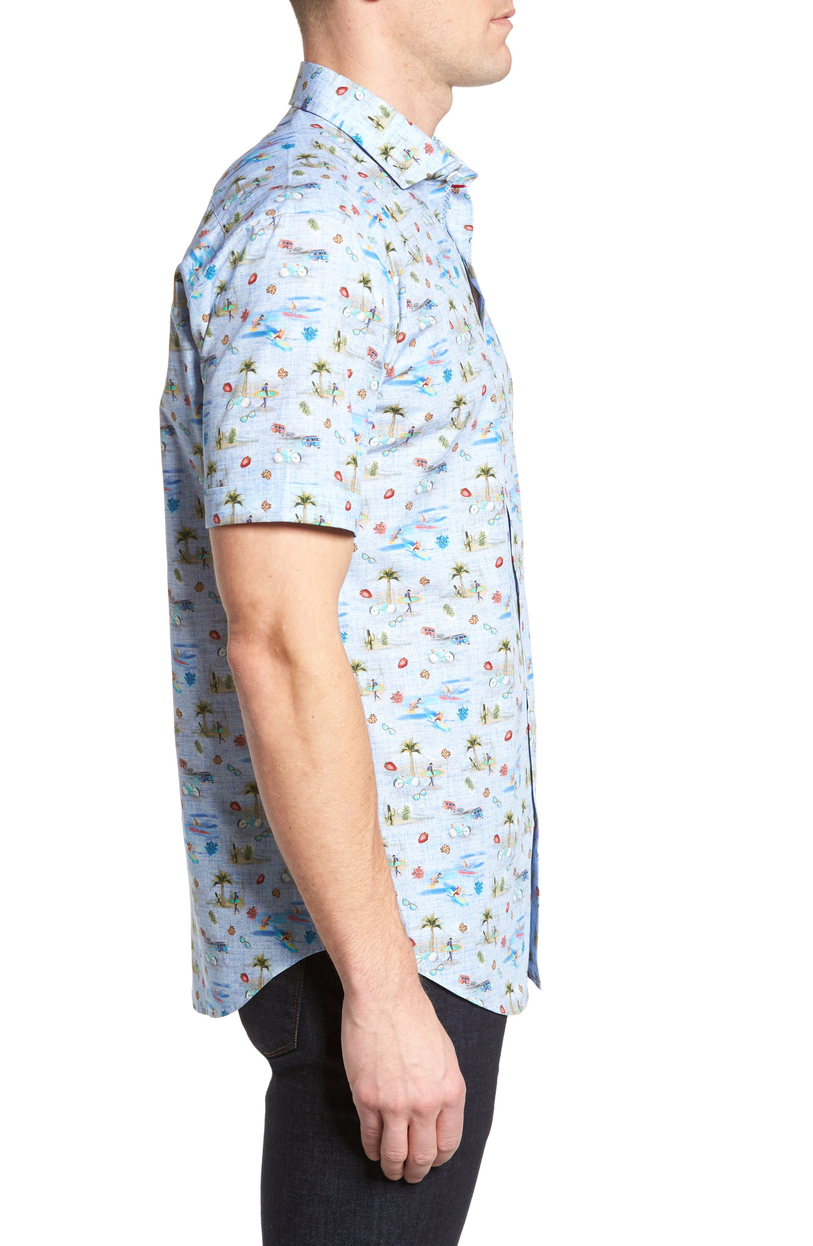 Buatchi Shaped Fit Print Sport Shirt,                             Alternate thumbnail 3, color,                             423