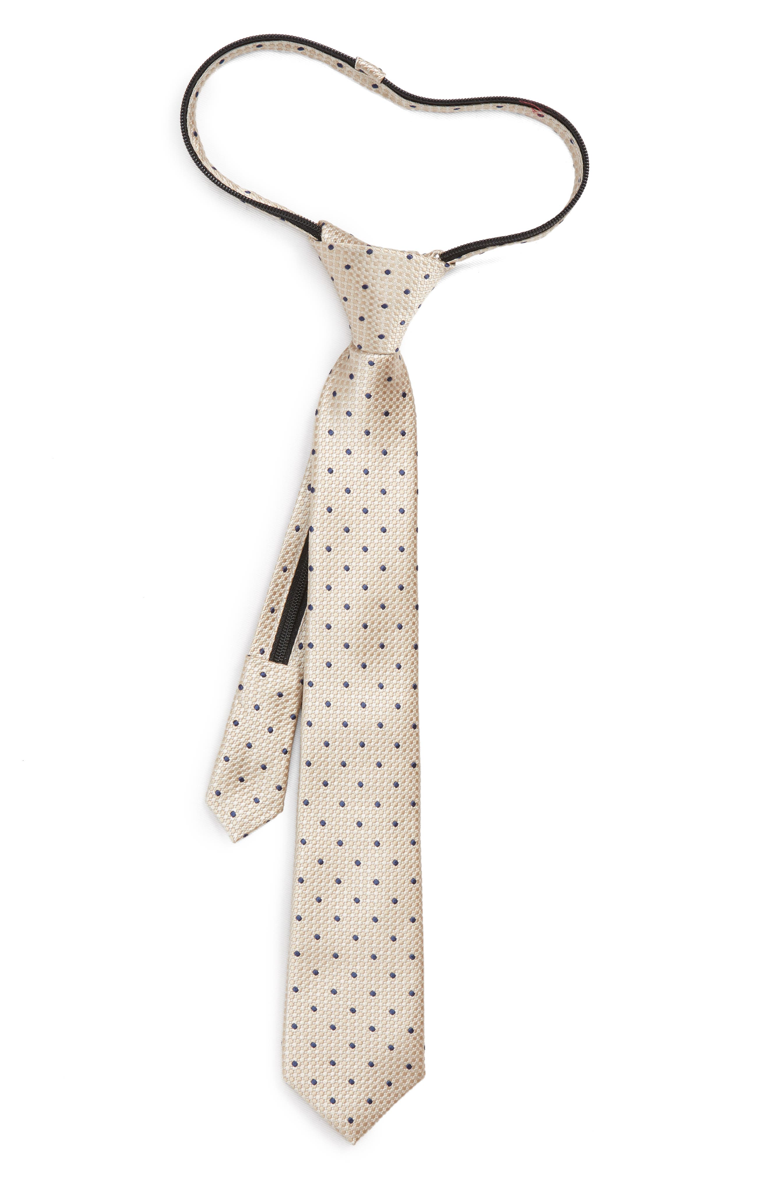 Dot Silk Zip Tie,                         Main,                         color, TAUPE