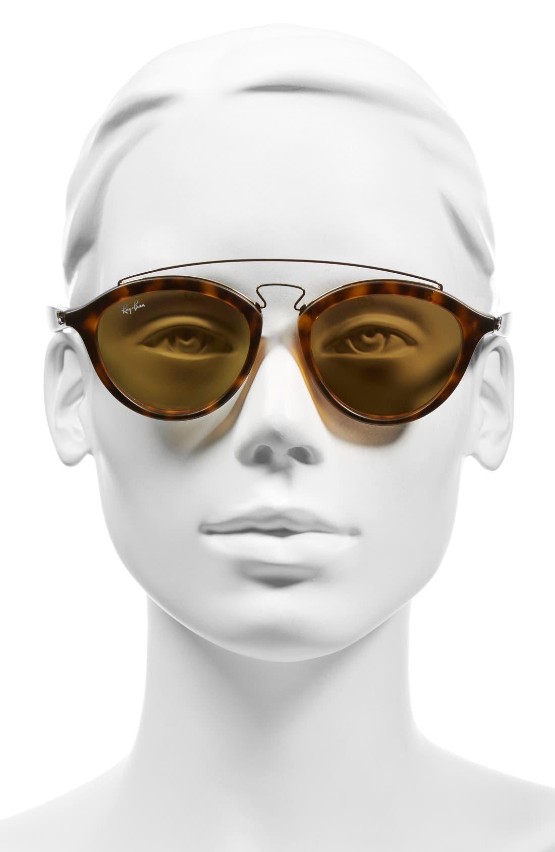 Highstreet 50mm Brow Bar Sunglasses,                             Alternate thumbnail 10, color,