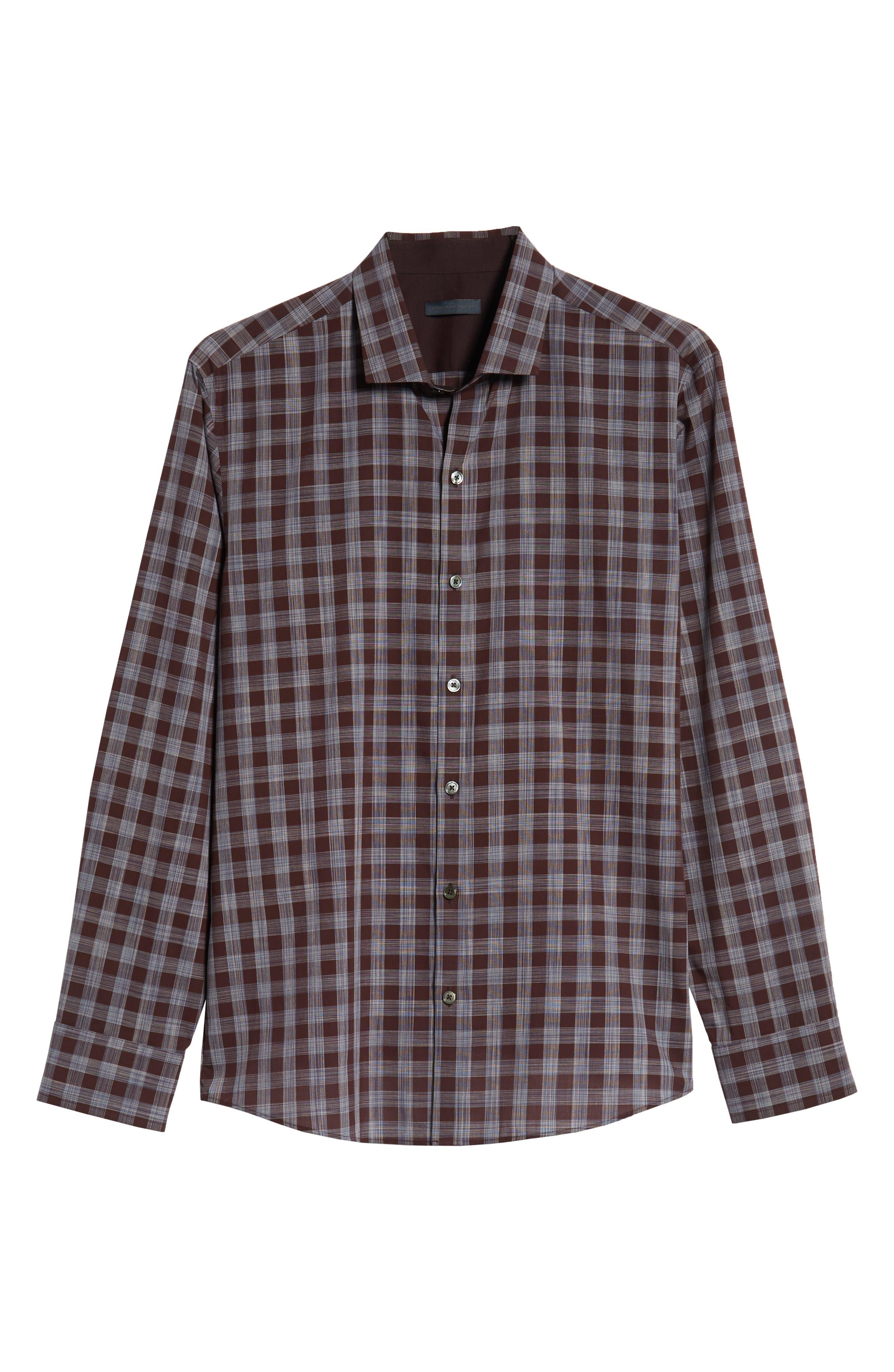 Luca Regular Fit Check Sport Shirt,                             Alternate thumbnail 5, color,                             BURGUNDY