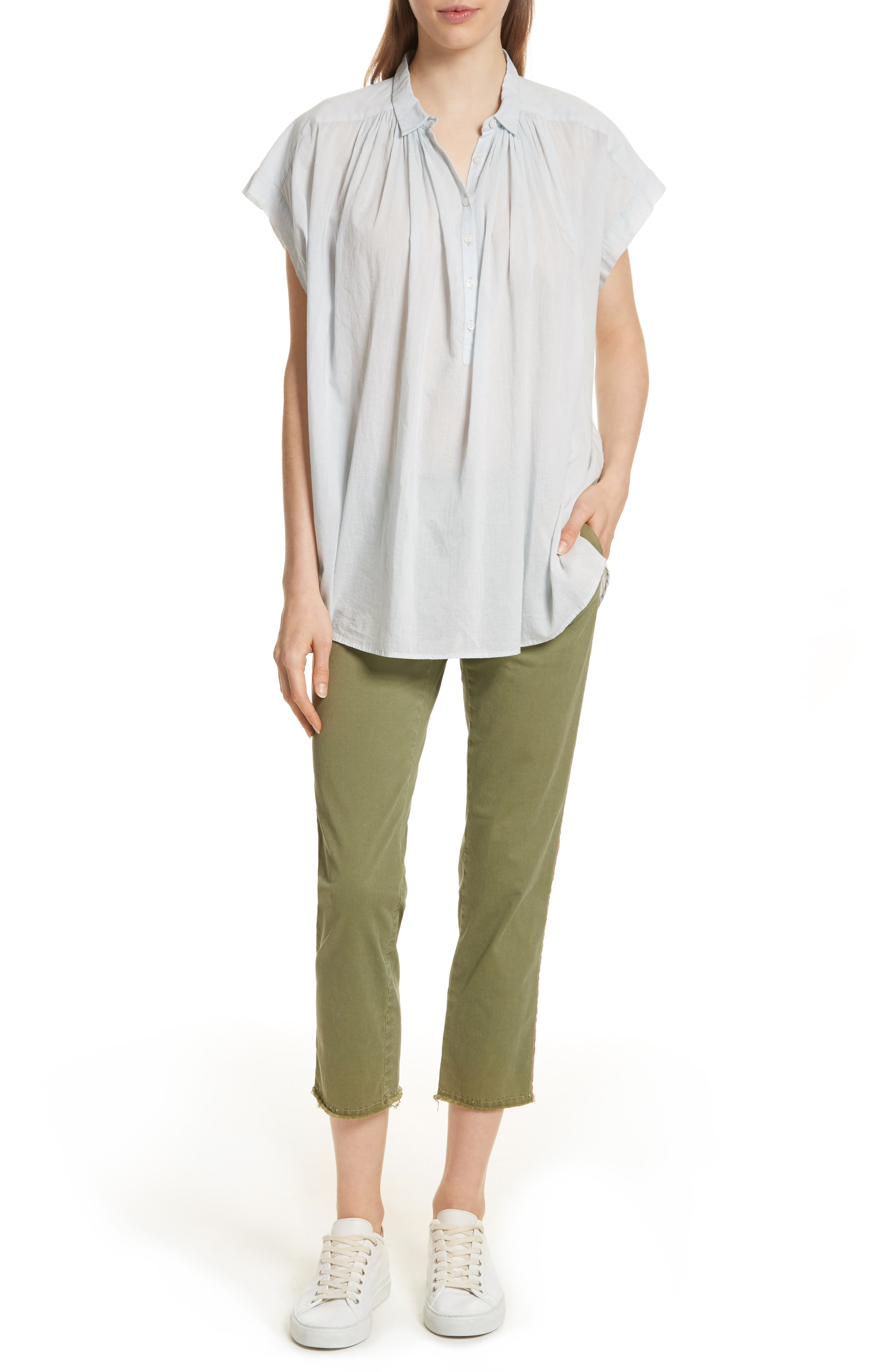 East Hampton Stretch Cotton Twill Crop Pants,                             Alternate thumbnail 7, color,                             ARMY GREEN