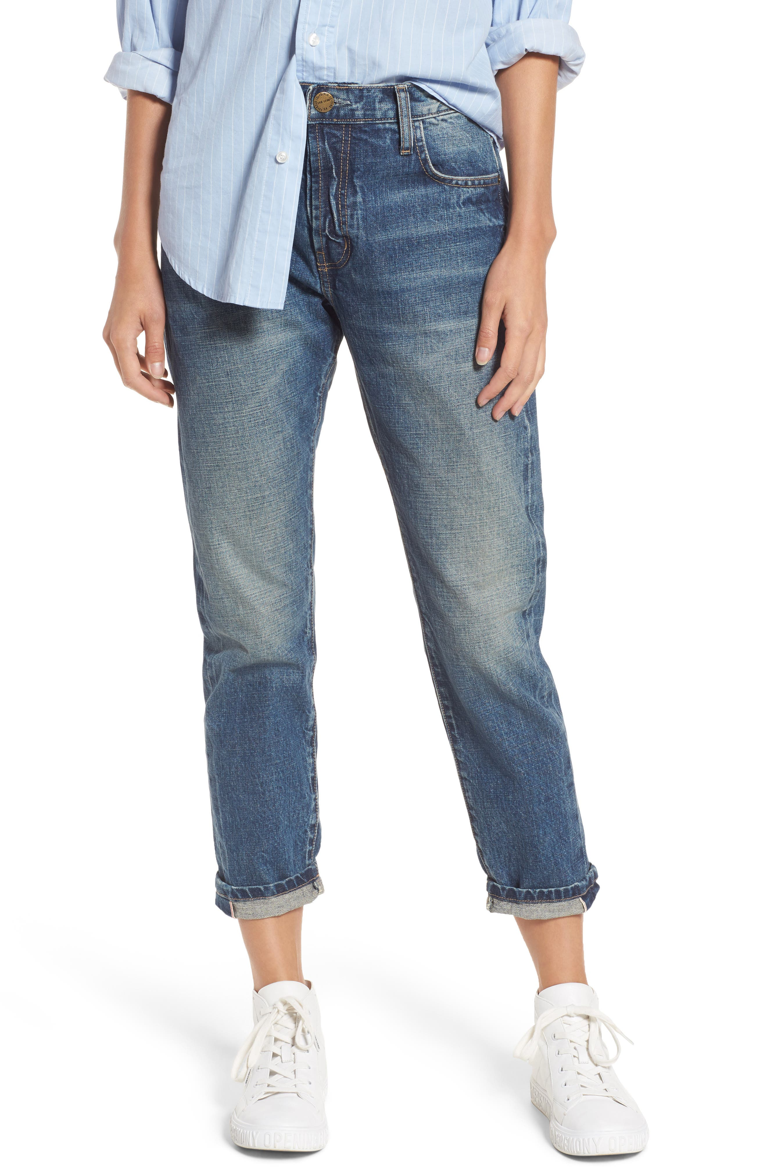 The Selvedge High Waist Crop Jeans,                         Main,                         color, 404