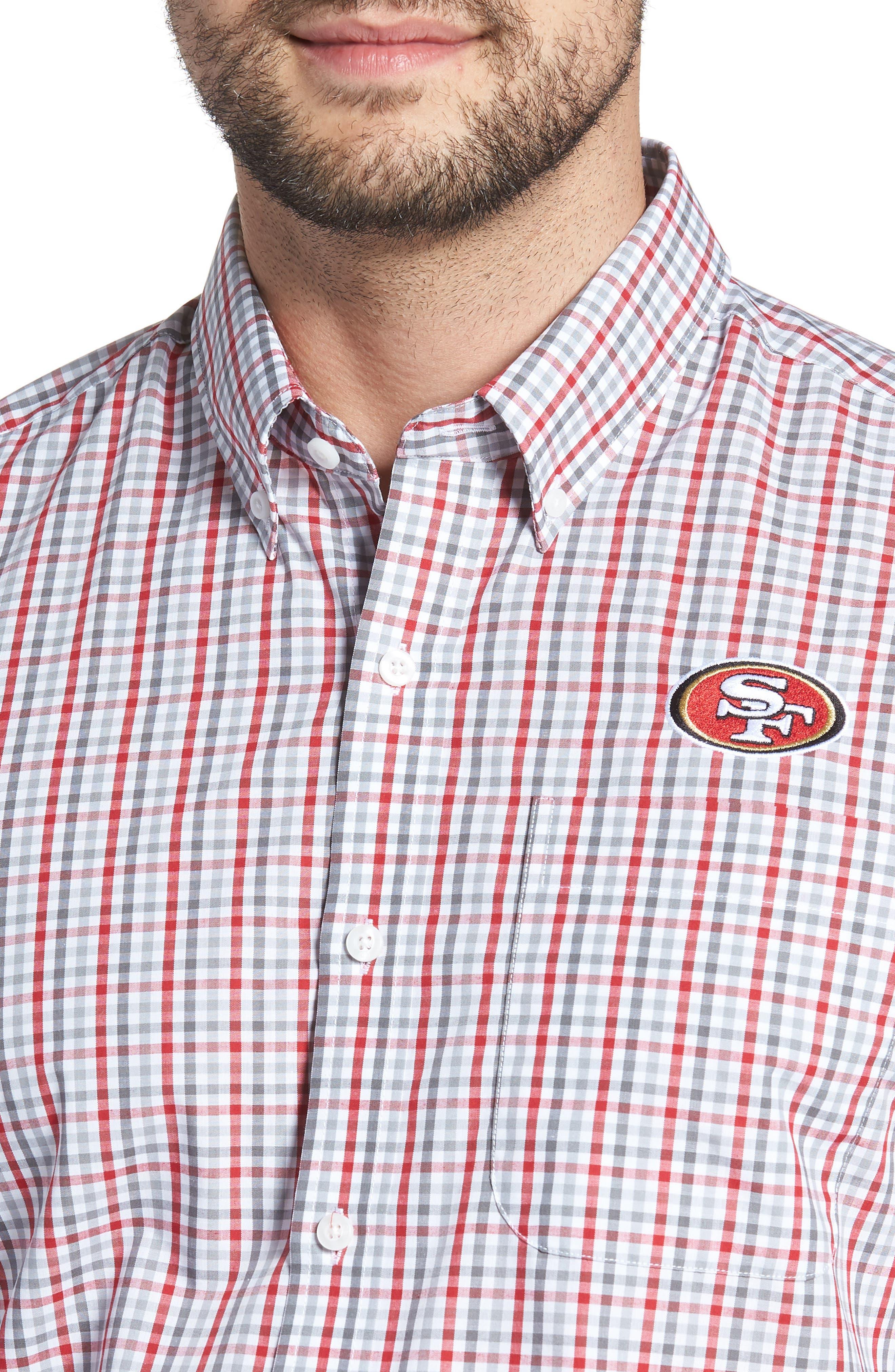 San Francisco 49ers - Gilman Regular Fit Plaid Sport Shirt,                             Alternate thumbnail 4, color,                             CARDINAL RED