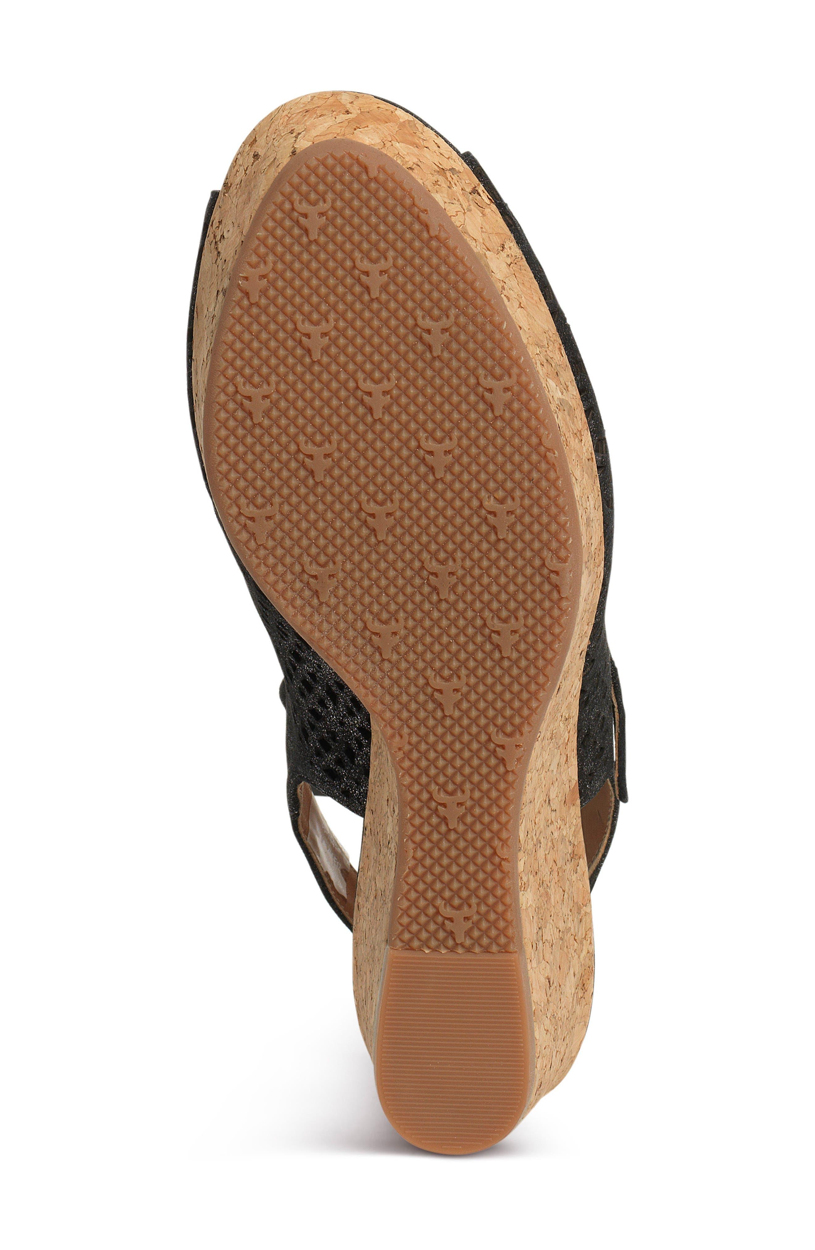Pattie Wedge Sandal,                             Alternate thumbnail 6, color,                             BLACK METALLIC SUEDE
