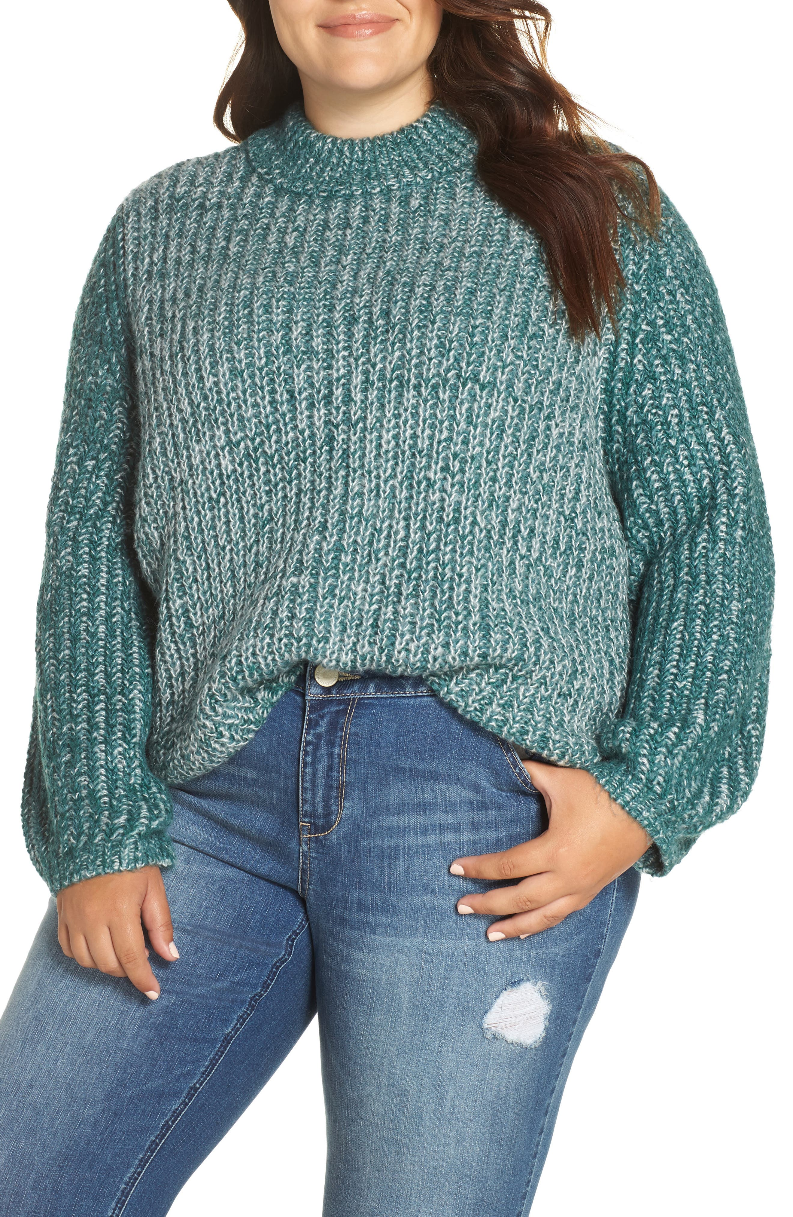 Marl Knit Sweater,                         Main,                         color, TEAL HYDRO