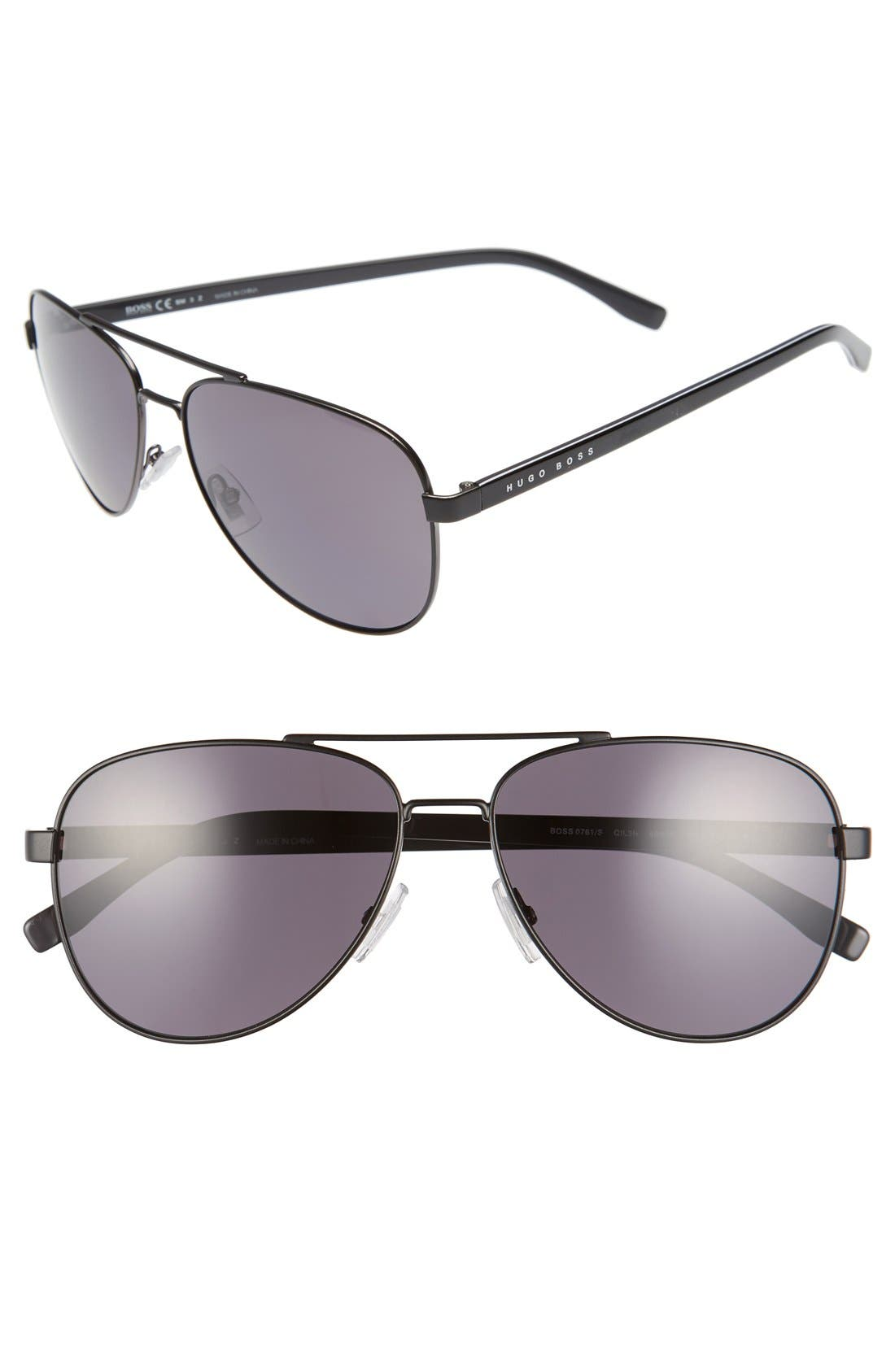 '0761/S' 60mm Polarized Aviator Sunglasses,                         Main,                         color,