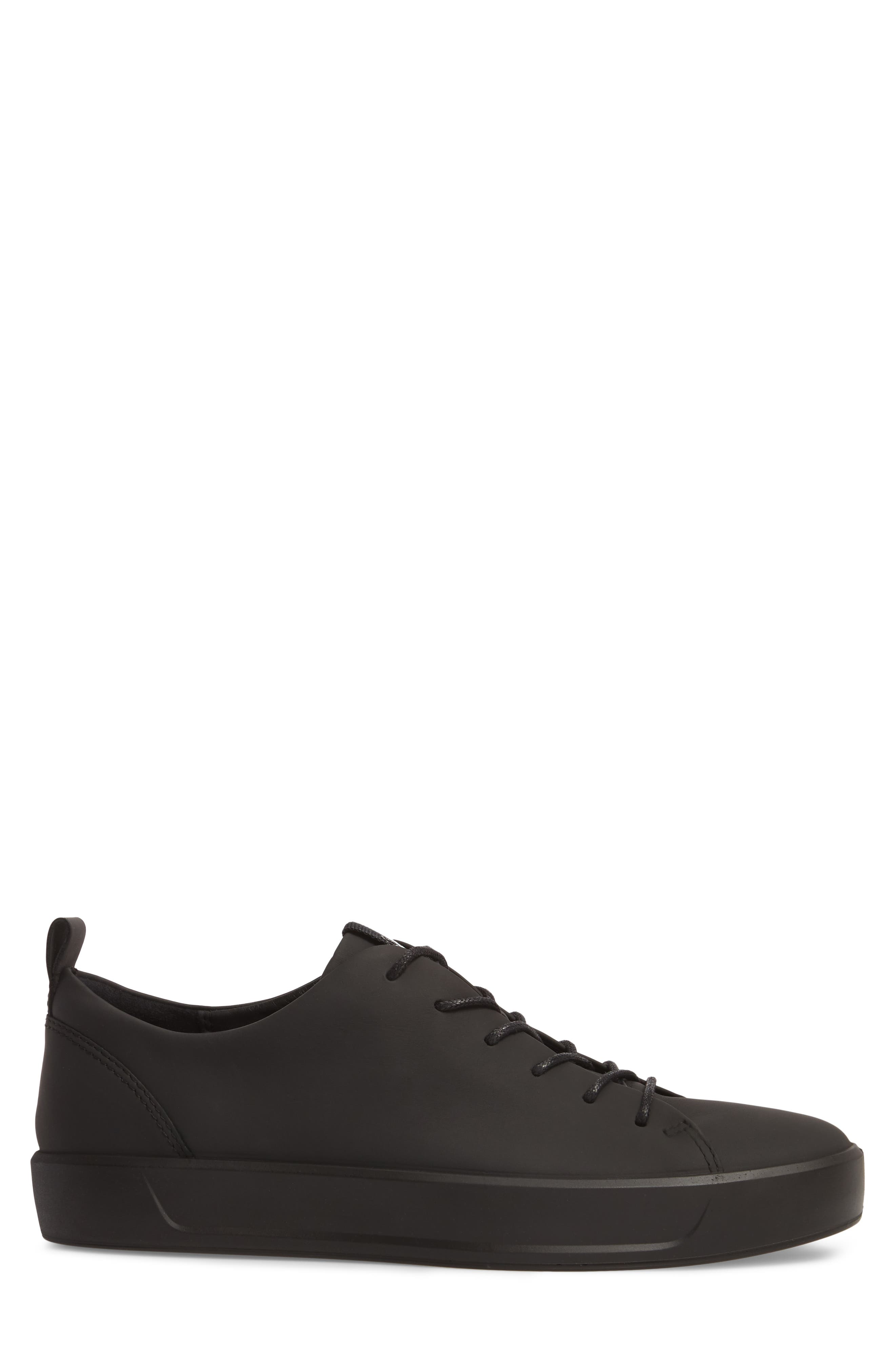 ECCO,                             Soft 8 Sneaker,                             Alternate thumbnail 3, color,                             BLACK LEATHER