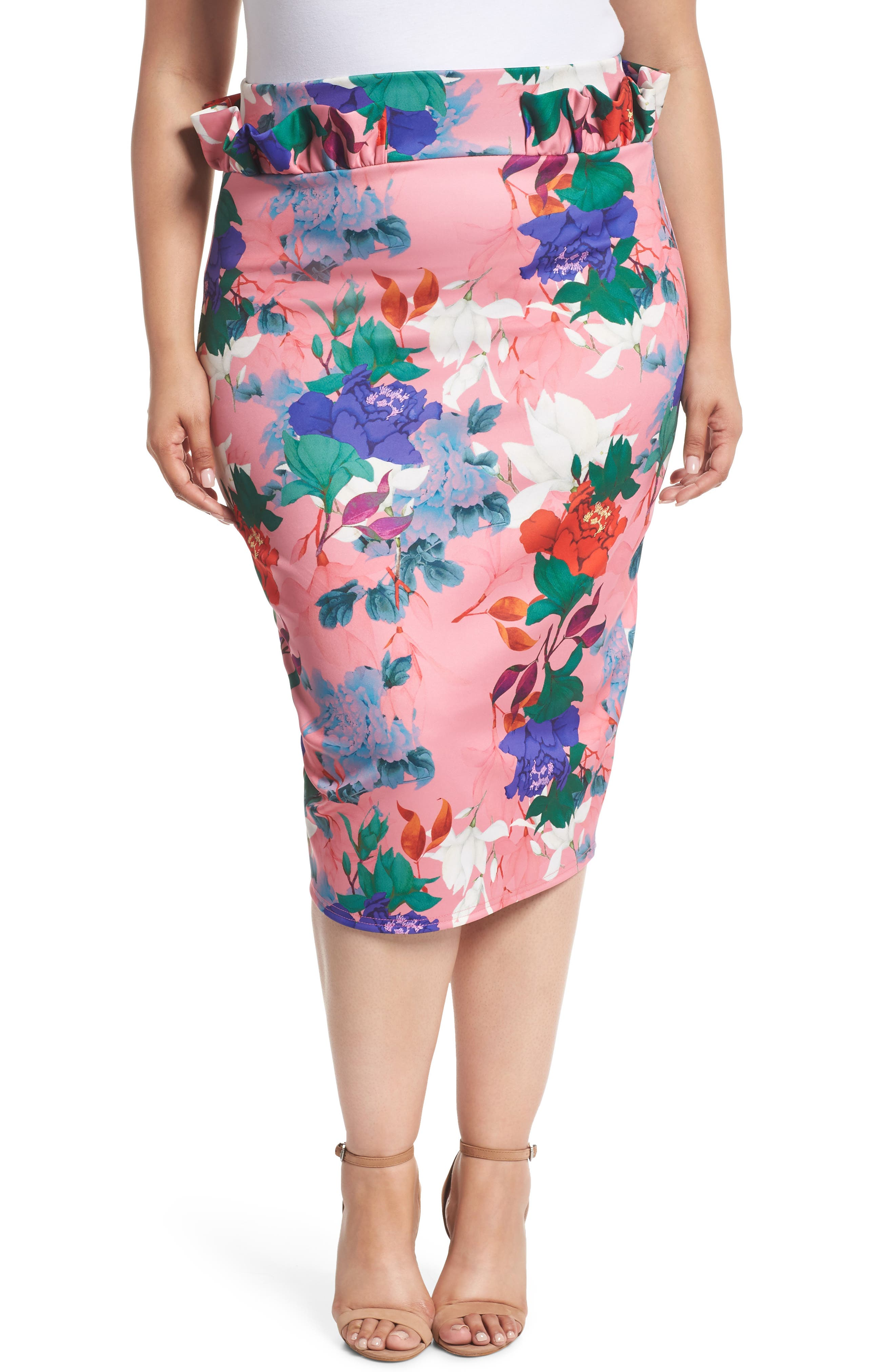 LOST INK,                             Floral Ruffle Pencil Skirt,                             Main thumbnail 1, color,                             658