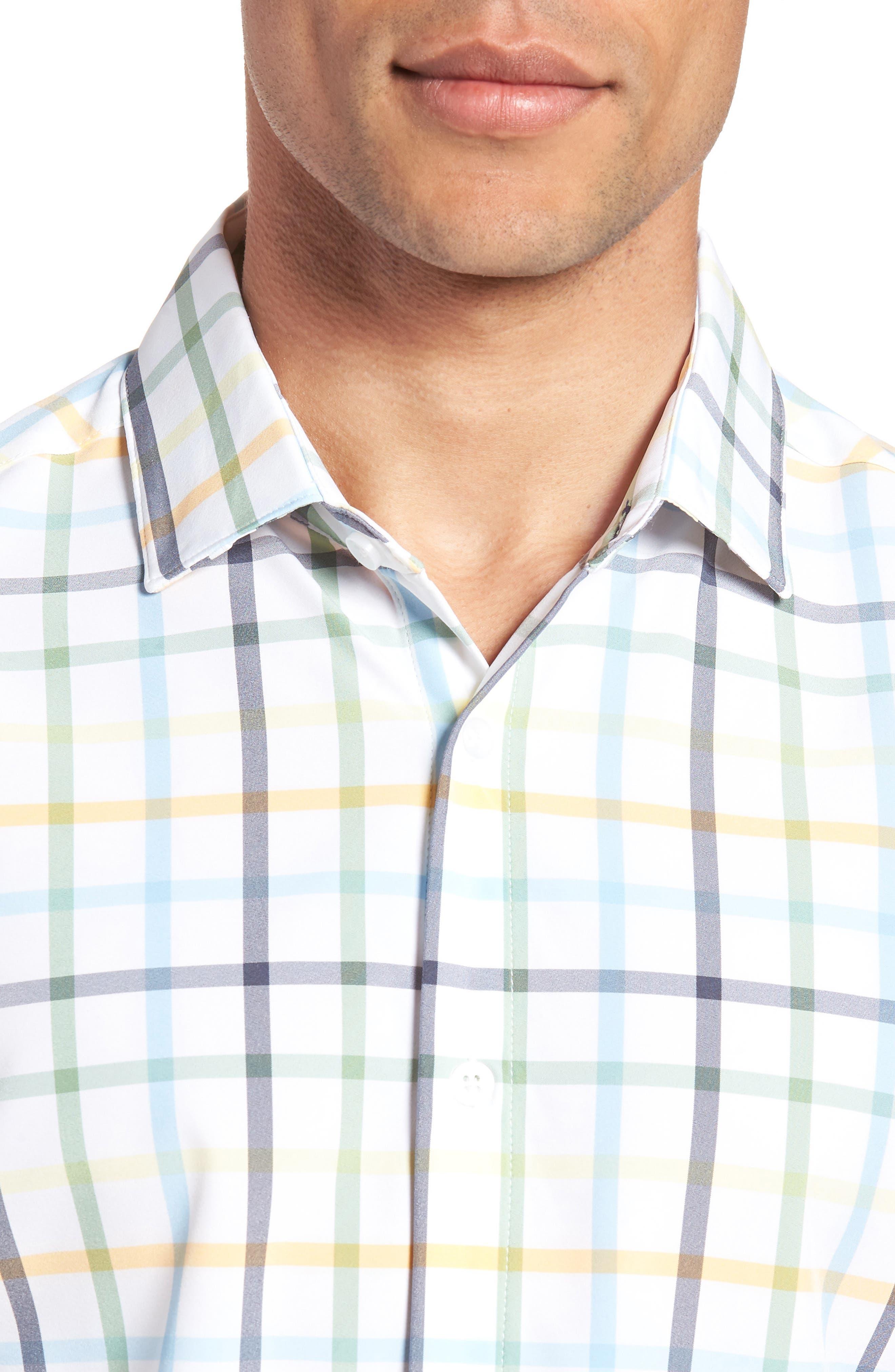 Carson Check Performance Sport Shirt,                             Alternate thumbnail 4, color,                             BLUE