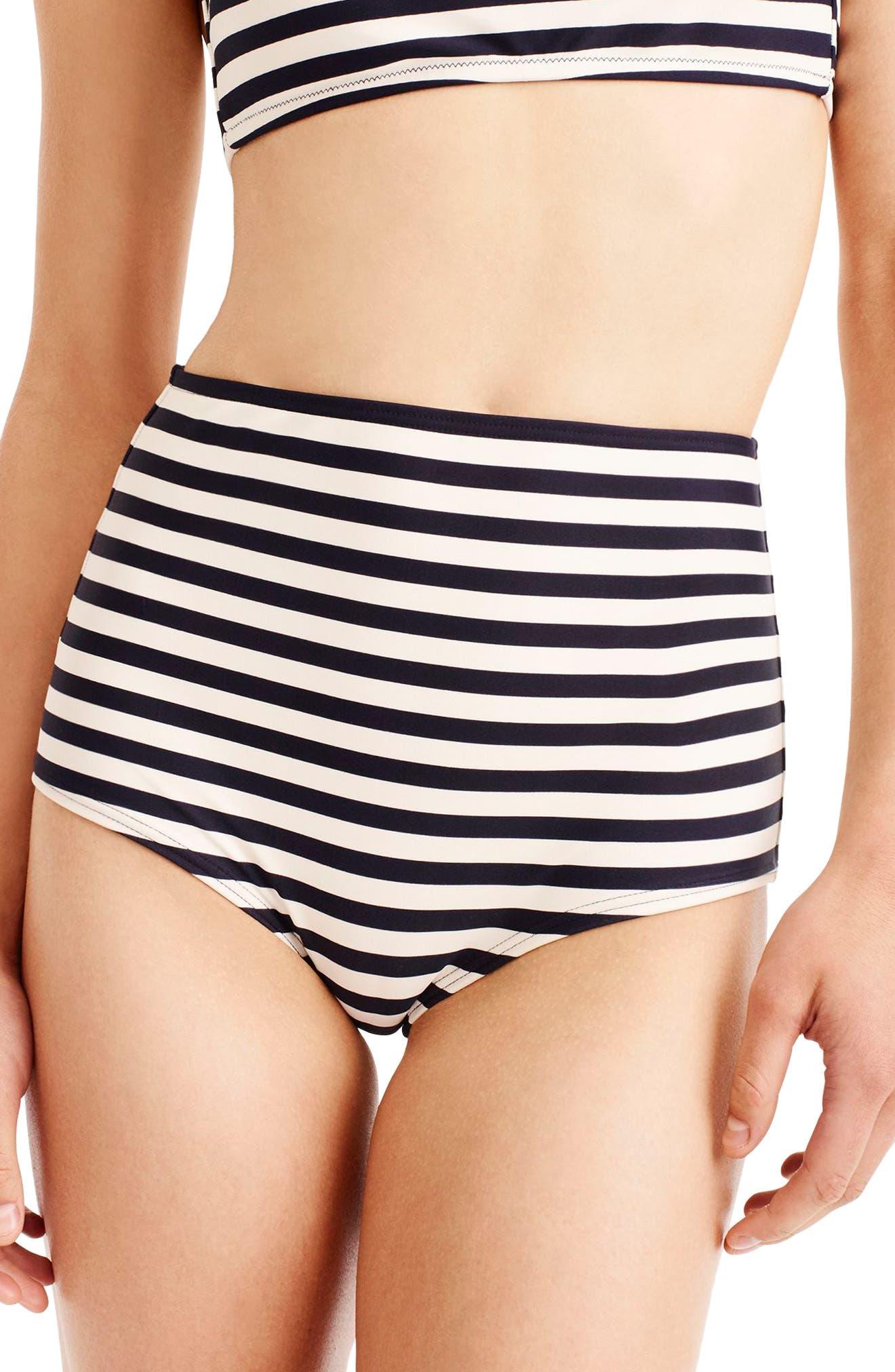 Stripe High Waist Bikini Bottoms,                         Main,                         color, NAVY IVORY